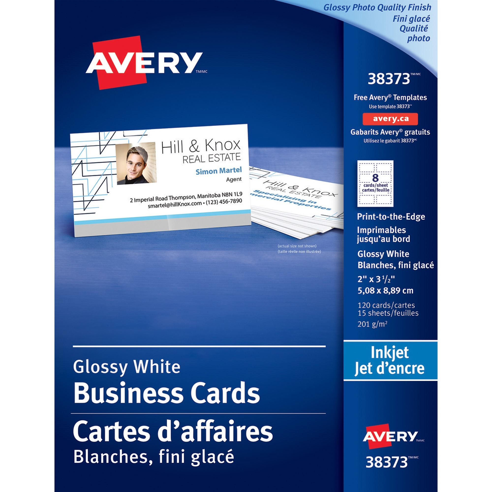 Selkirk cellulars office supplies corp office supplies avery inkjet print business card 2 x 3 12 0 recycled content glossy 120 pack white wajeb Gallery