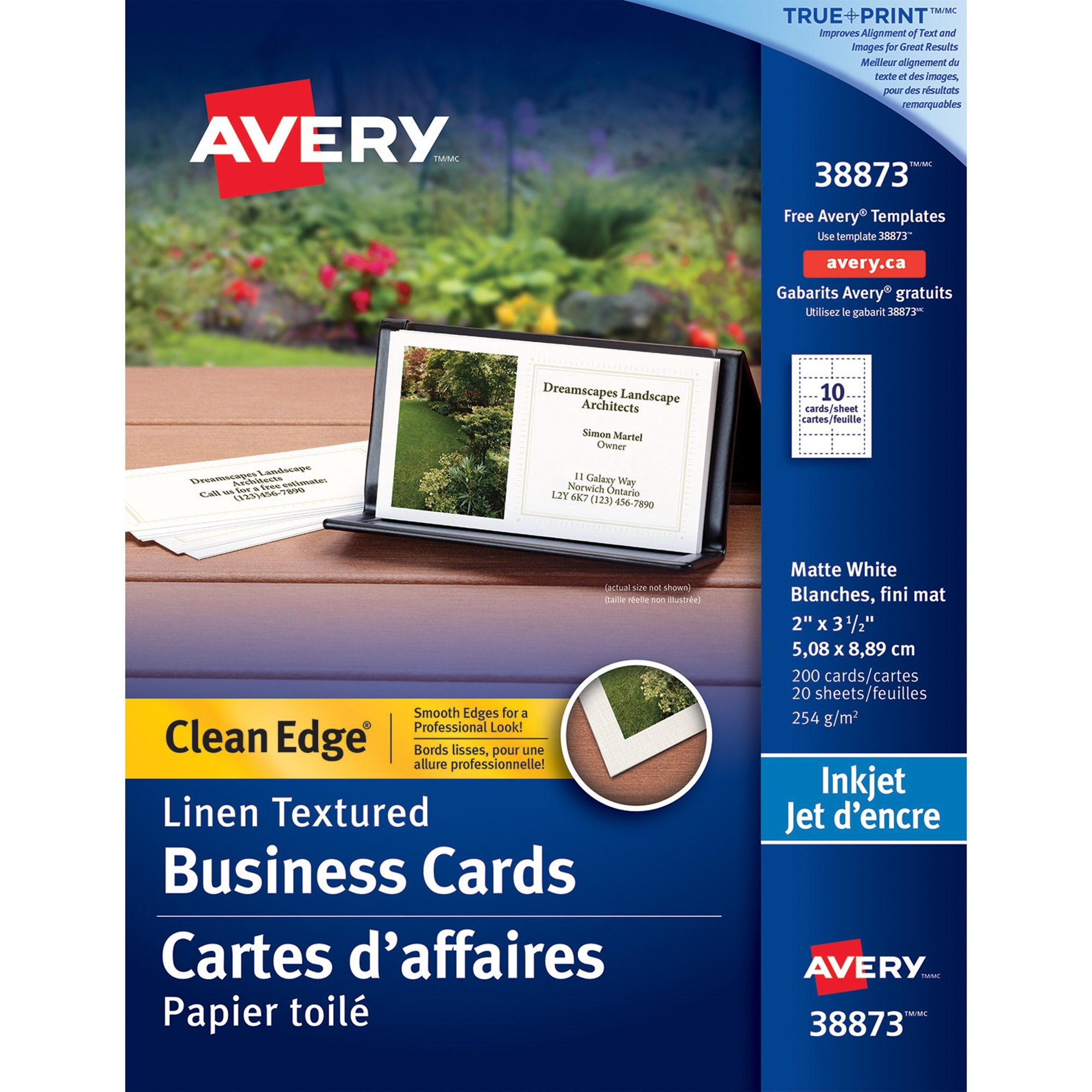 Kamloops office systems office supplies paper pads cards avery business card 2 x 3 12 0 recycled content linen 200 pack white reheart Image collections