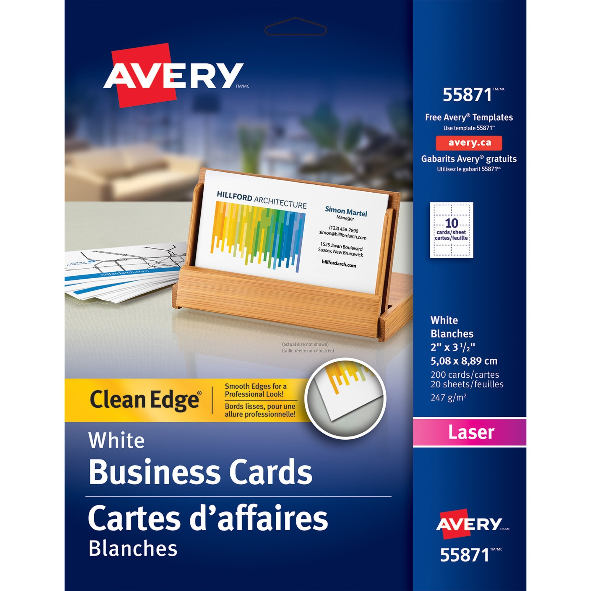 Avery business card madill the office company averyreg business card 2 x 3 12 0 recycled content 200 pack white reheart Gallery