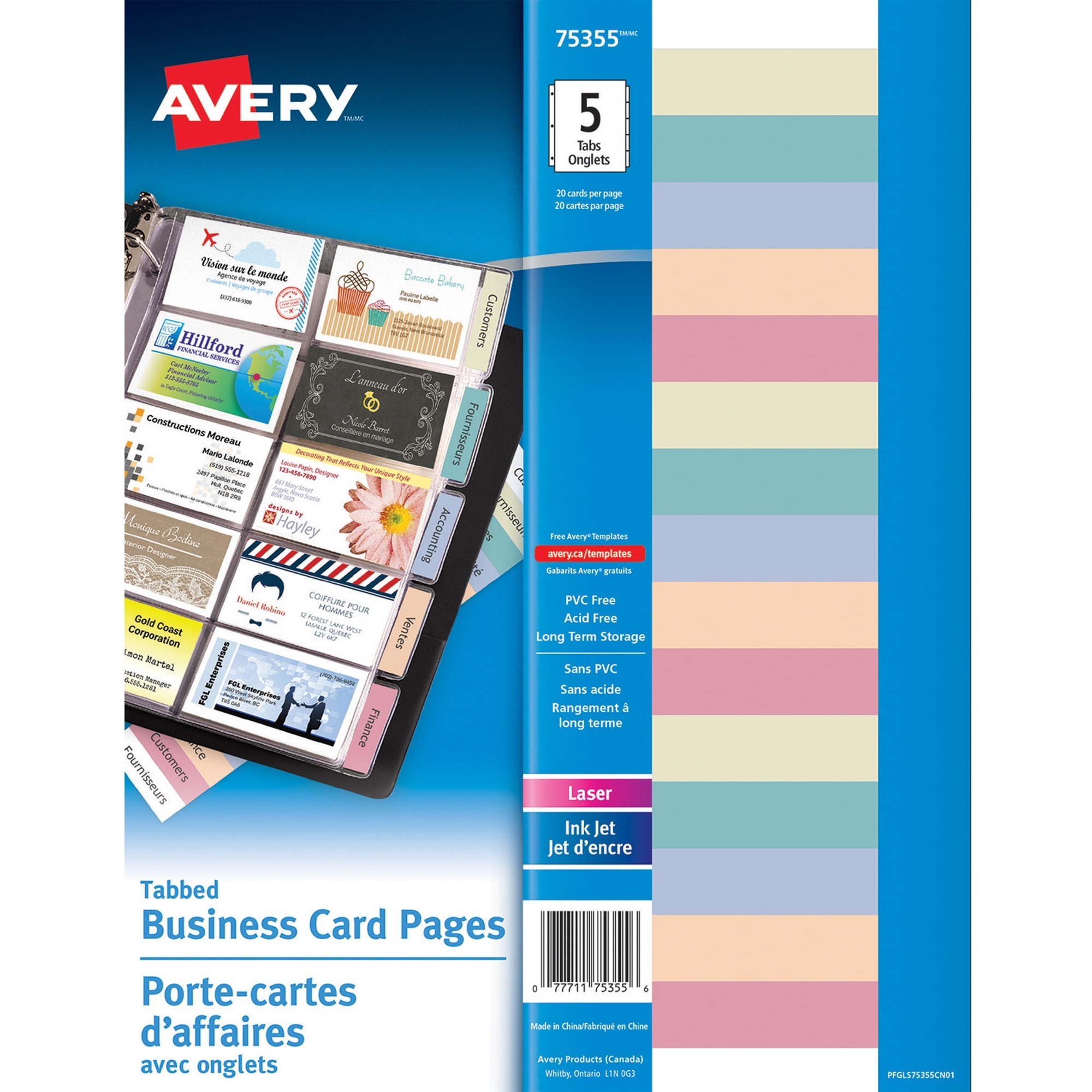 Avery Reg Business Card Holder Page 8 50 215 90 Mm Width X 11 279 40 Length