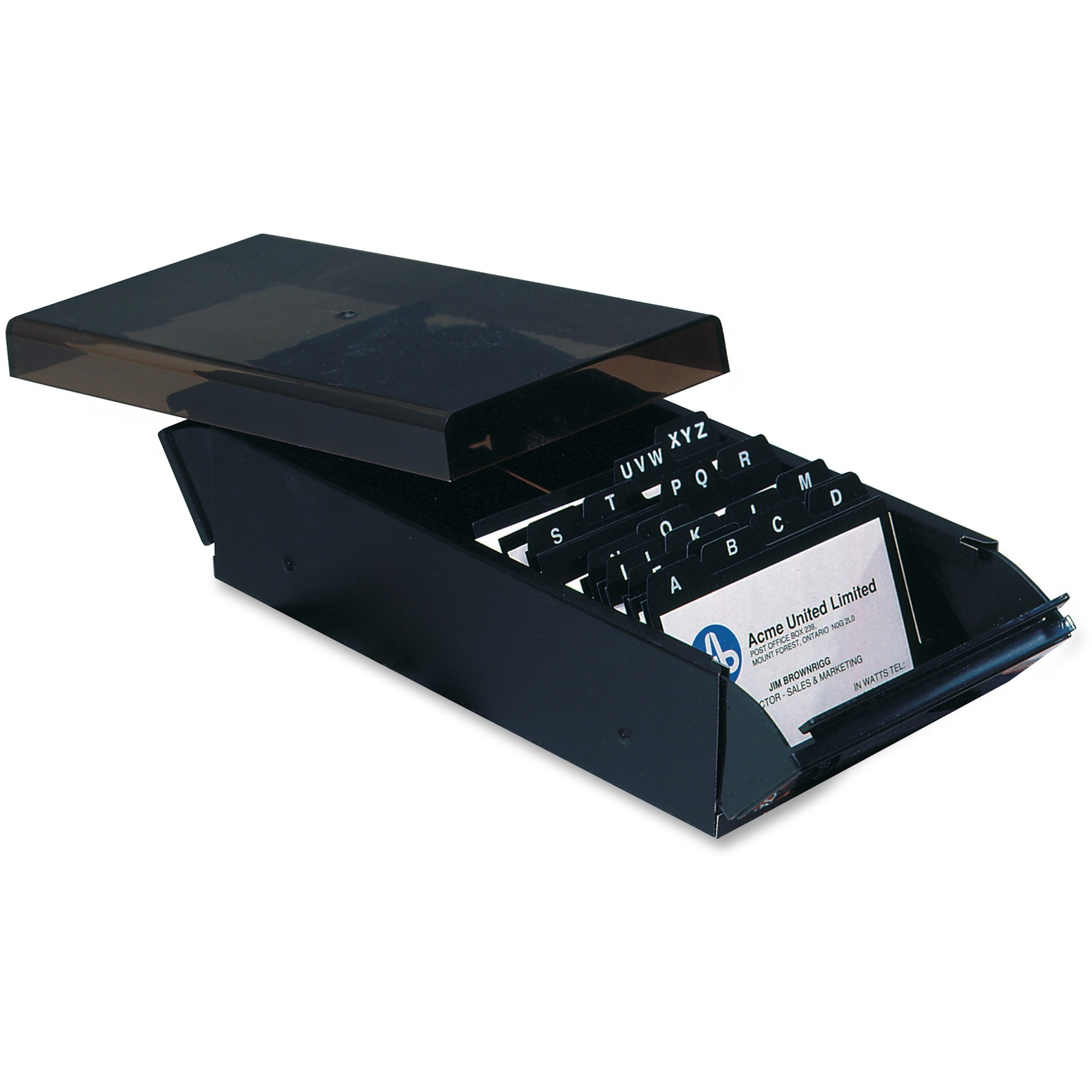 West coast office supplies office supplies desk organizers acme united business card files 600 card capacity black smoke reheart Images