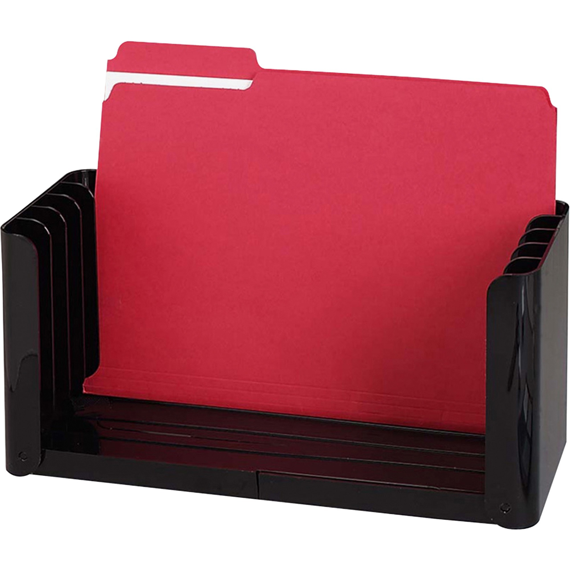 Sparco The Folder Holder 5 Compartment S 6 1 Height X 15 Width 4 Depth Desktop Ebony 1each