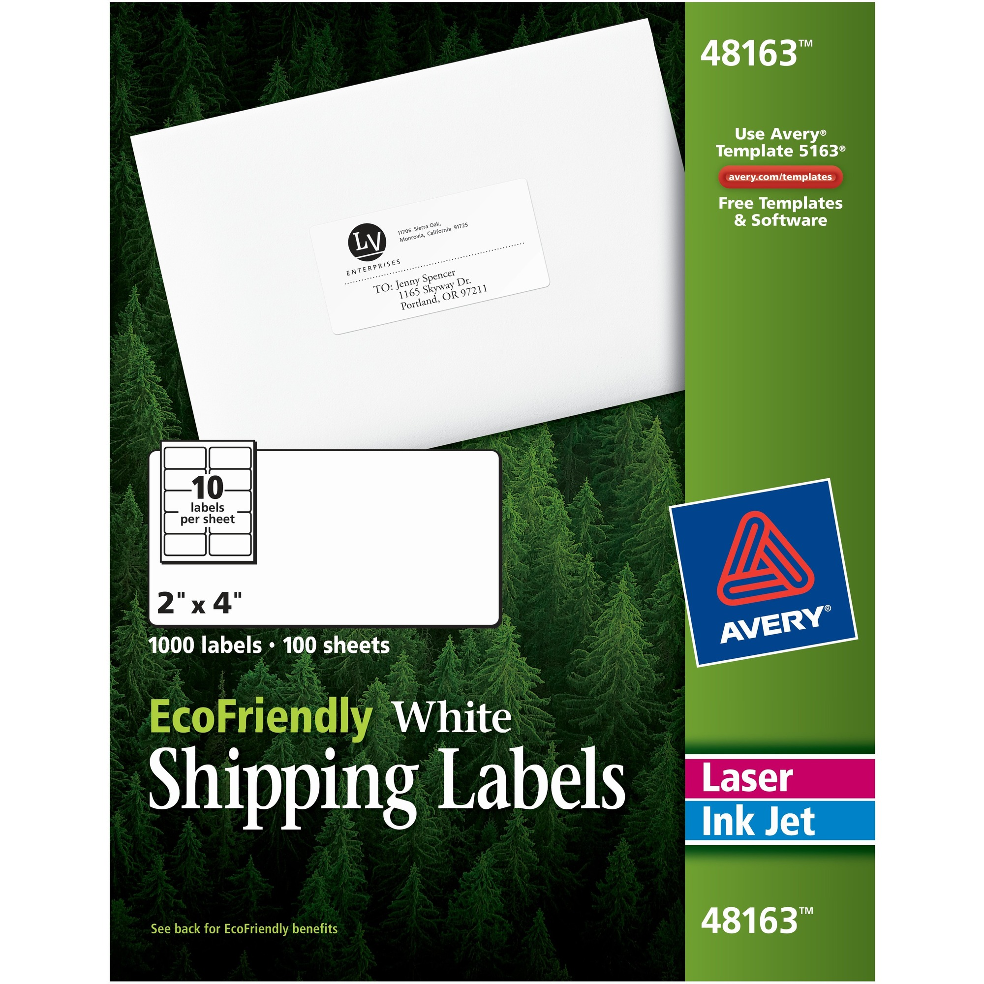 Avery® Ecofriendly Address Labels - Permanent Adhesive - 1/2 Width X