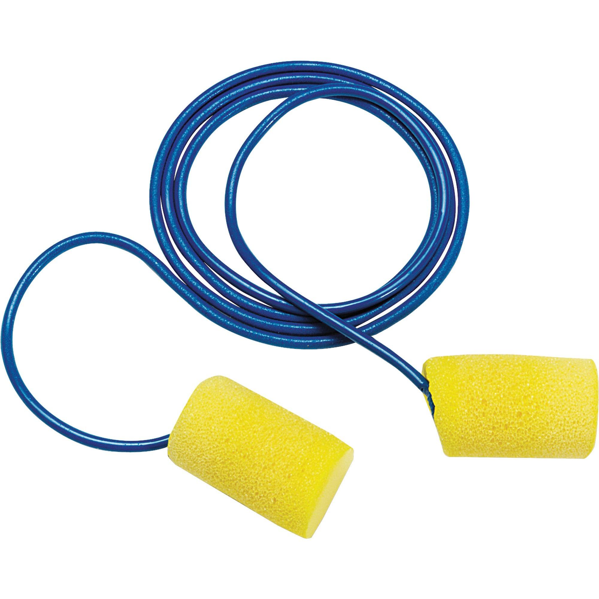 Aearo Corded Foam Earplugs - Moisture Resistant, Corded - Noise Protection - Foam - Yellow - 200 / Box