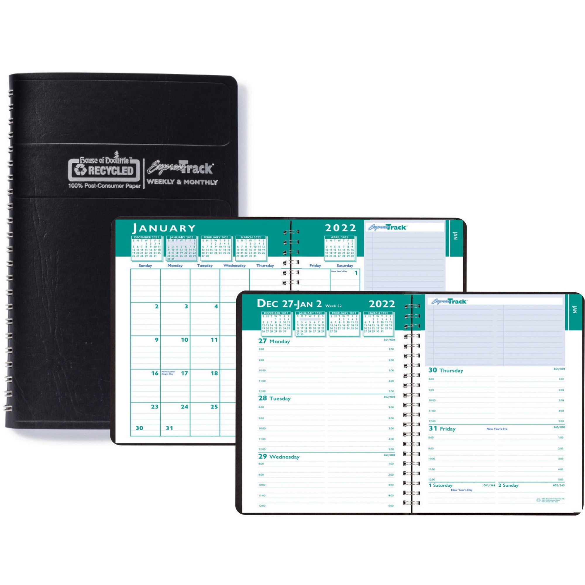 House of Doolittle Express Track Small Weekly/Monthly Calendar Planner - Yes - Weekly, Monthly - 1.1 Year - January 2020 till January 2021 - 8:00 AM to 5:00 PM - 1 Week, 1 Month Double Page Layout - 5