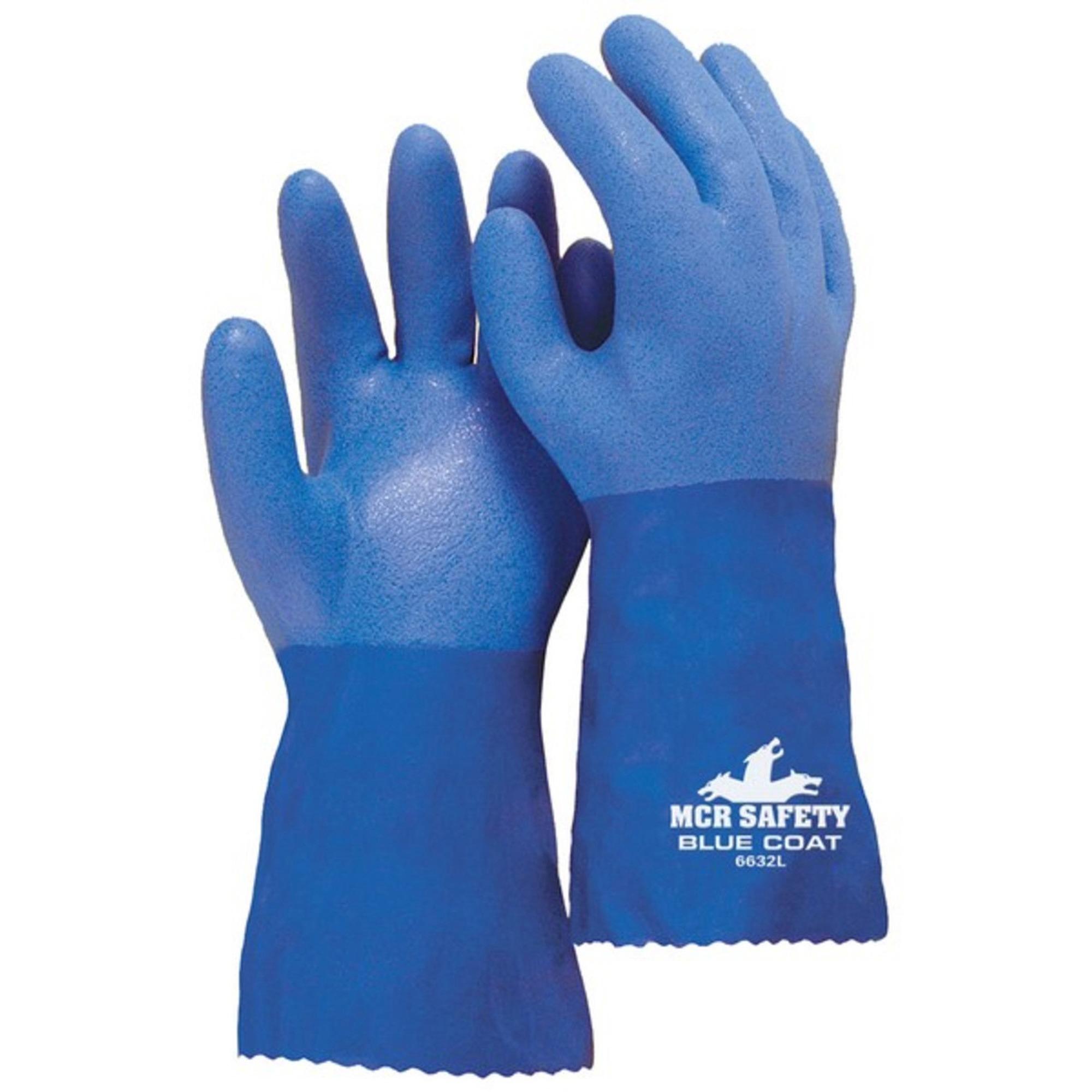 MCR Safety Blue Coat Seamless Gloves - Large Size - Polyvinyl Chloride (PVC) - Blue - Seamless - 2 / Pair