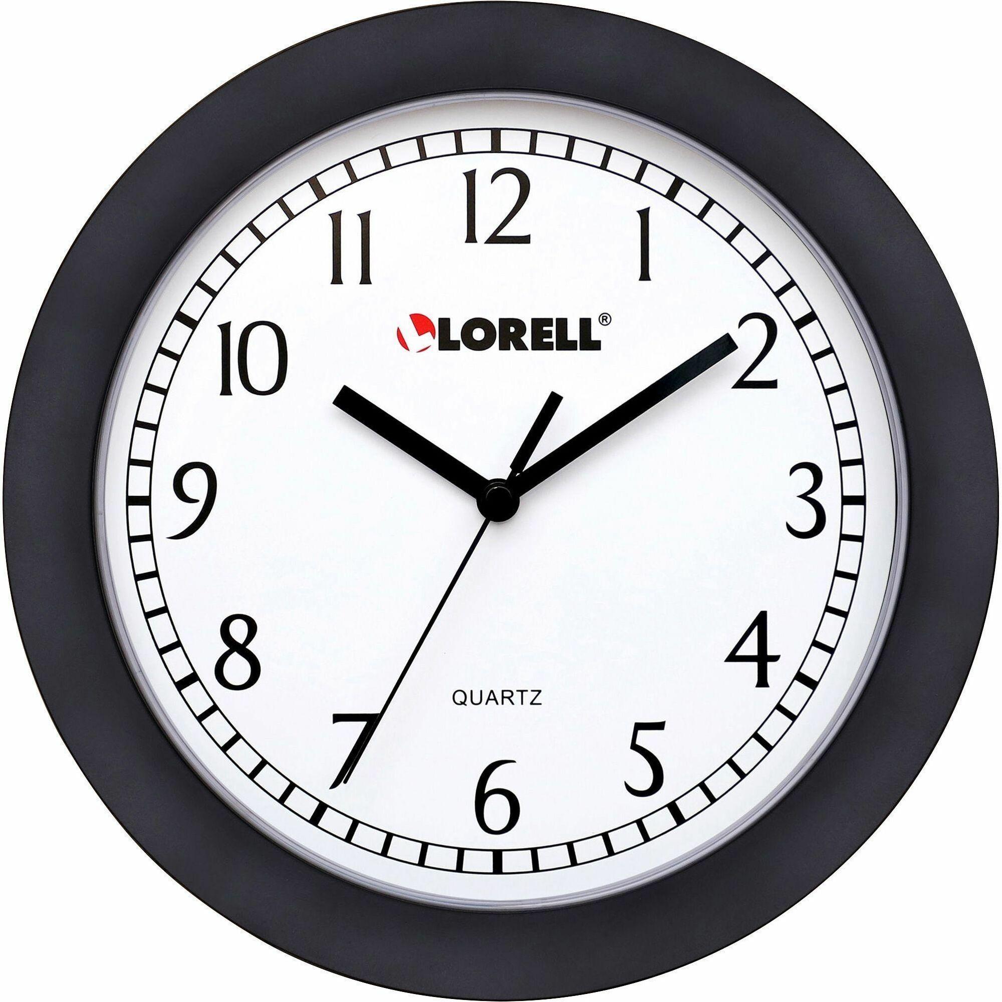 """Lorell Wall Clock 9/"""" Arabic Numerals White Dial//Black Frame 60987"""