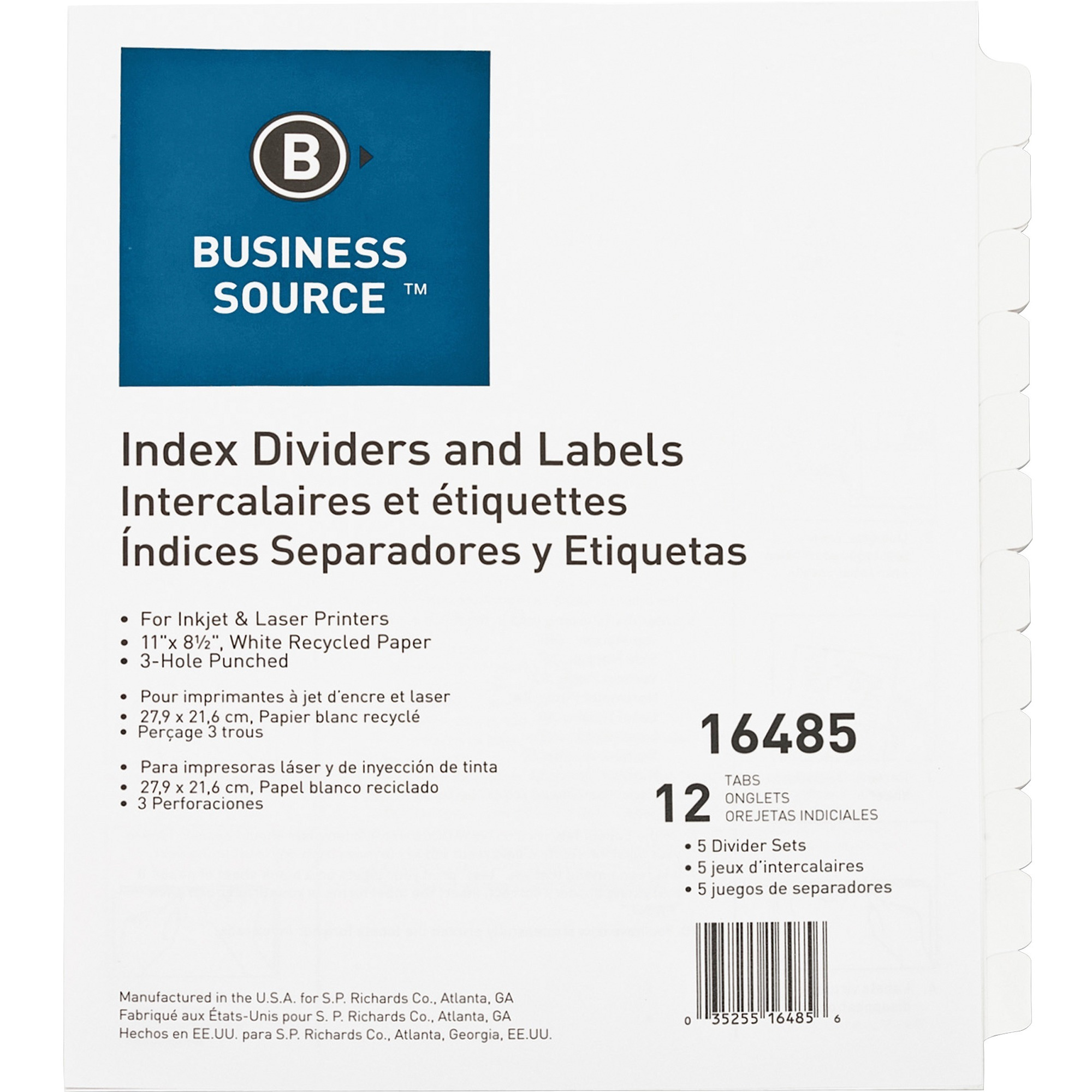 business source customize 12 tab index dividers 12 x dividers 12 print on tabs 3 hole punched white divider white tabs 5 pack