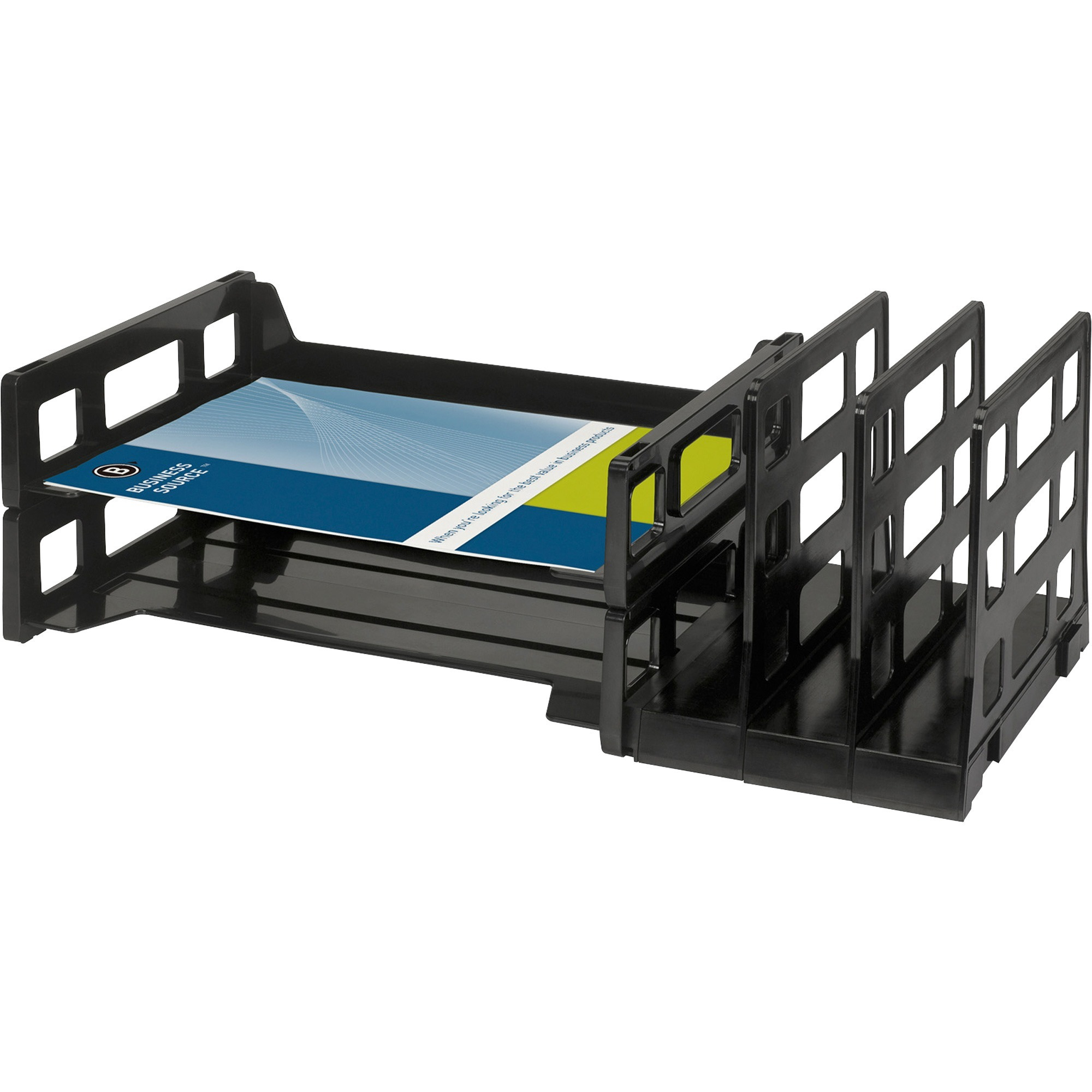 Business Source Combo 2 Tray Vertical Organizer 3 8 Height X 14 Width 9 Depth Desktop Recycled Black Plastic 1each