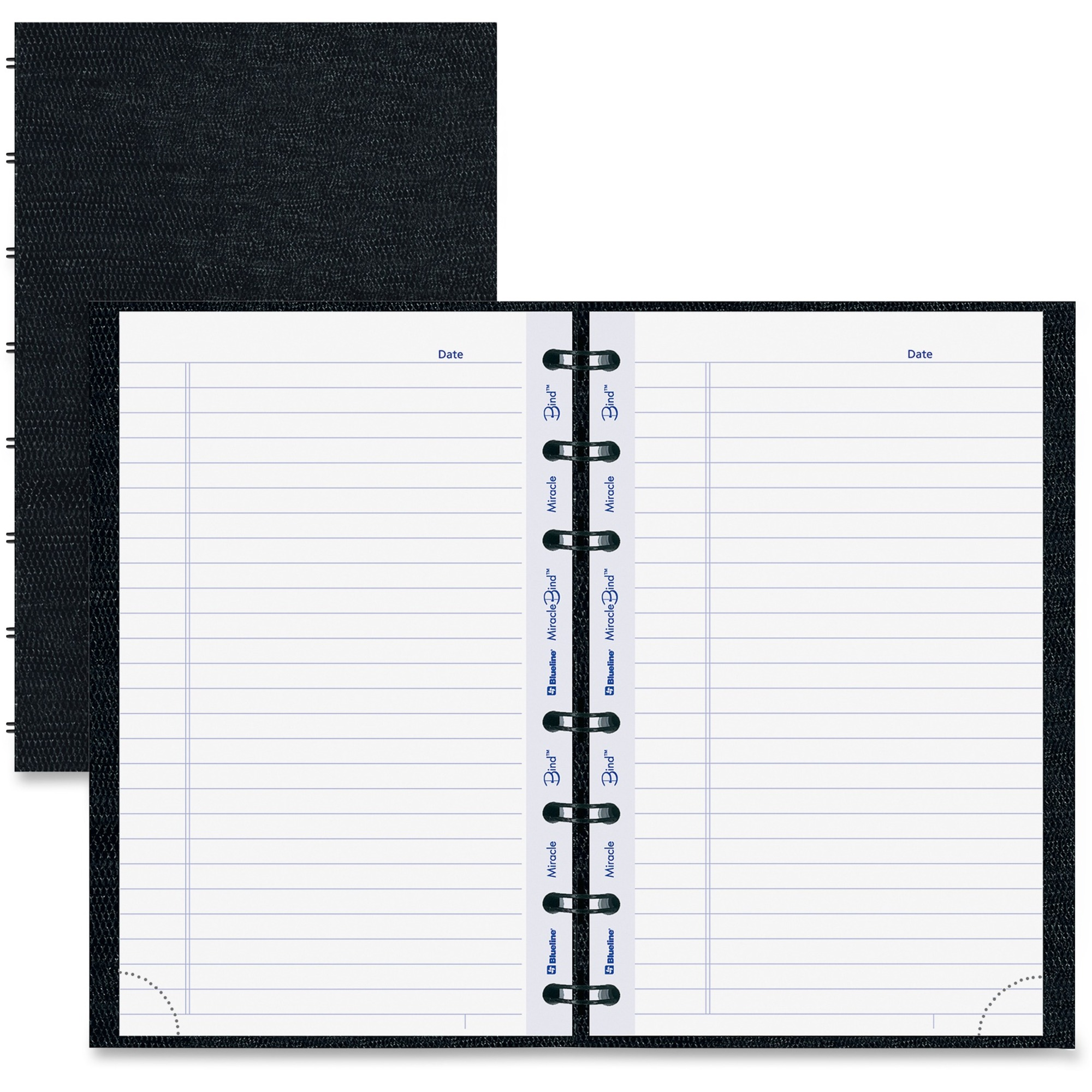 "Blueline MiracleBind College Ruled Notebooks - 150 Pages - Twin Wirebound -  Ruled - 8"" x 5"" - Black Cover Ribbed - Hard Cover, Removable,  Repositionable, ..."