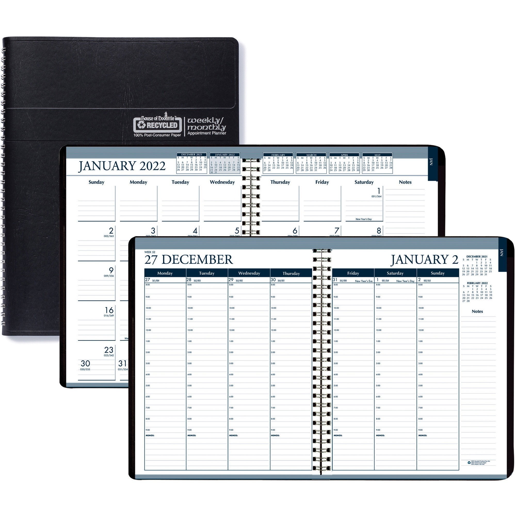 House of Doolittle Tabbed Wirebound Weekly/Monthly Planner - Yes - Weekly, Monthly, Daily - 1 Year - January 2020 till December 2020 - 8:00 AM to 8:30 PM - 1 Week, 1 Month Double Page Layout - 8 1/2