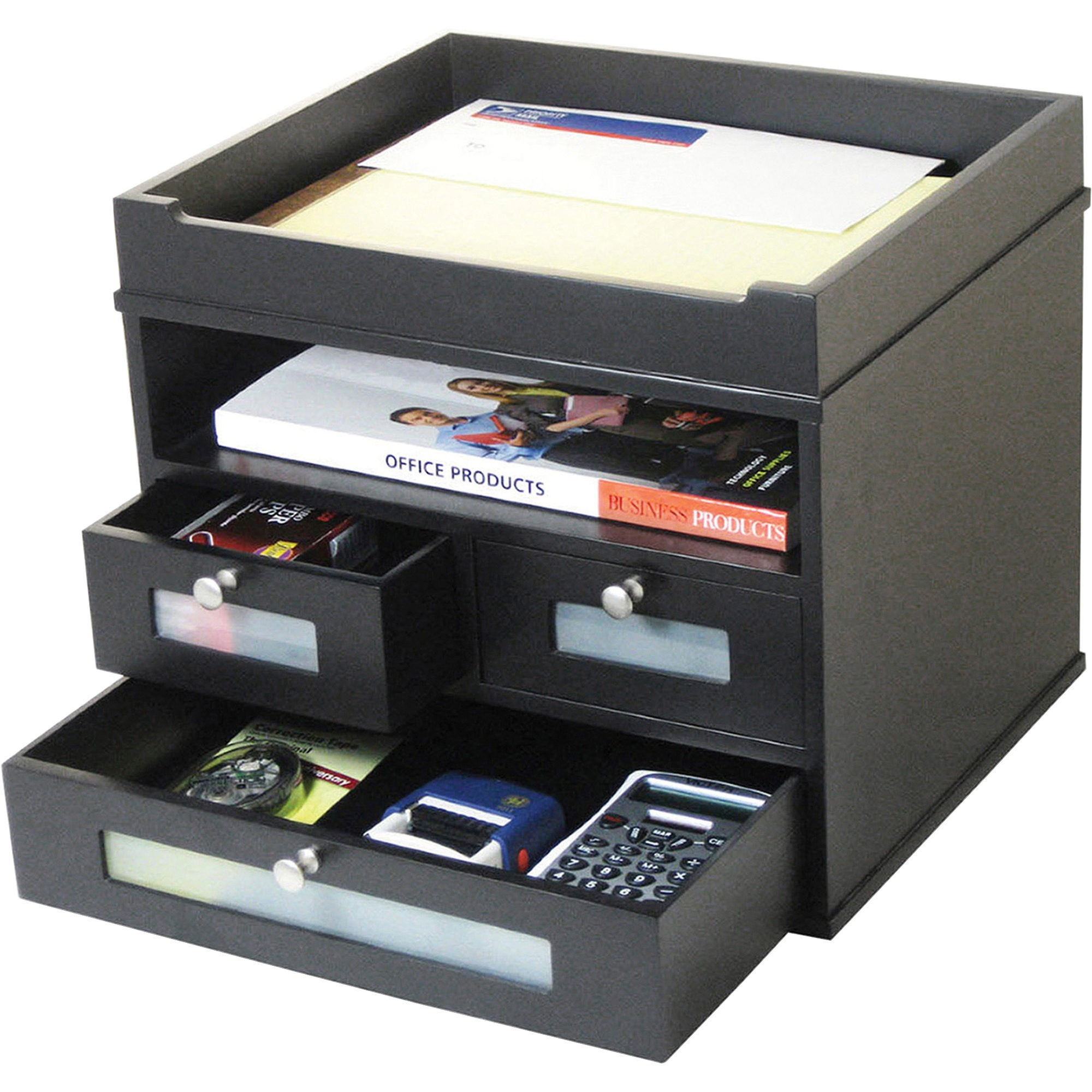 Victor Midnight Black Collection Tidy Tower Organizer 10 9 Height X 12 8 Width 6 Depth Desktop Wood Faux Leather 1each