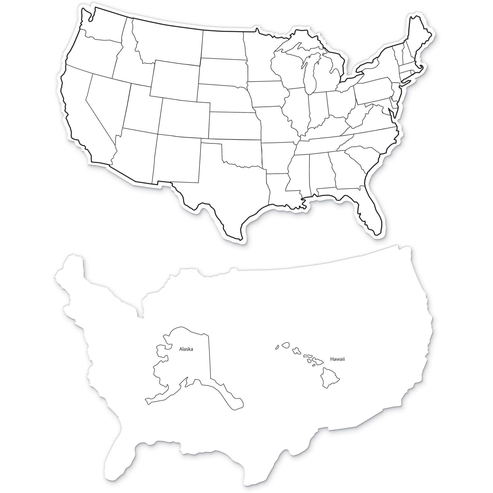 Pacon Corporation Creativity Street Large Usa Maps Whiteboard - 12 (1 Ft)  Width X 8 (0.7 Ft) Height - White Surface - Rectangle - 10 / Pack