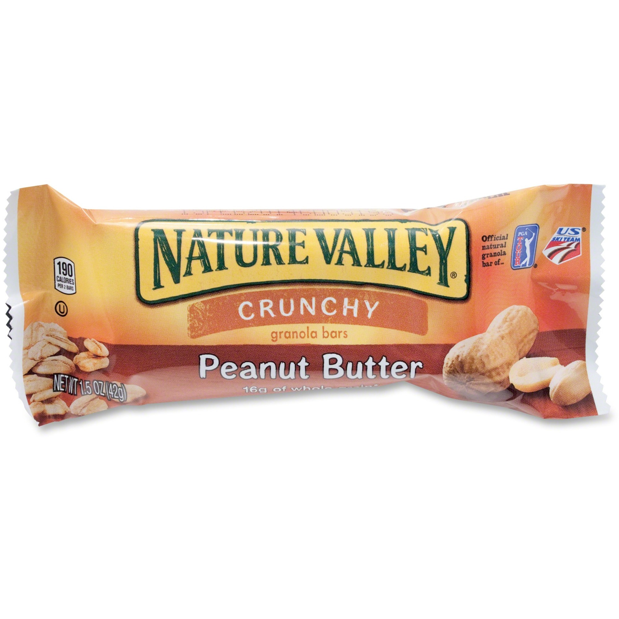 NATURE VALLEY Nature Valley Peanut Butter Granola Bars - Peanut Butter,  Crunch - 1 Serving Pouch - 42 5 g - 18 / Box