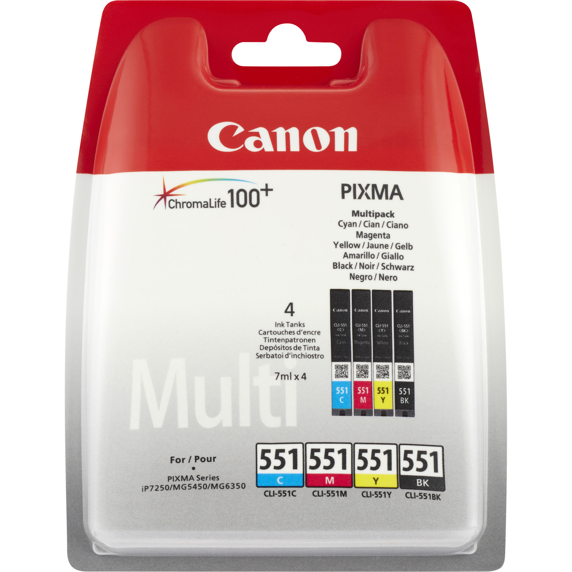 Canon CLI-551 Ink Cartridge - Black, Cyan, Magenta, Yellow