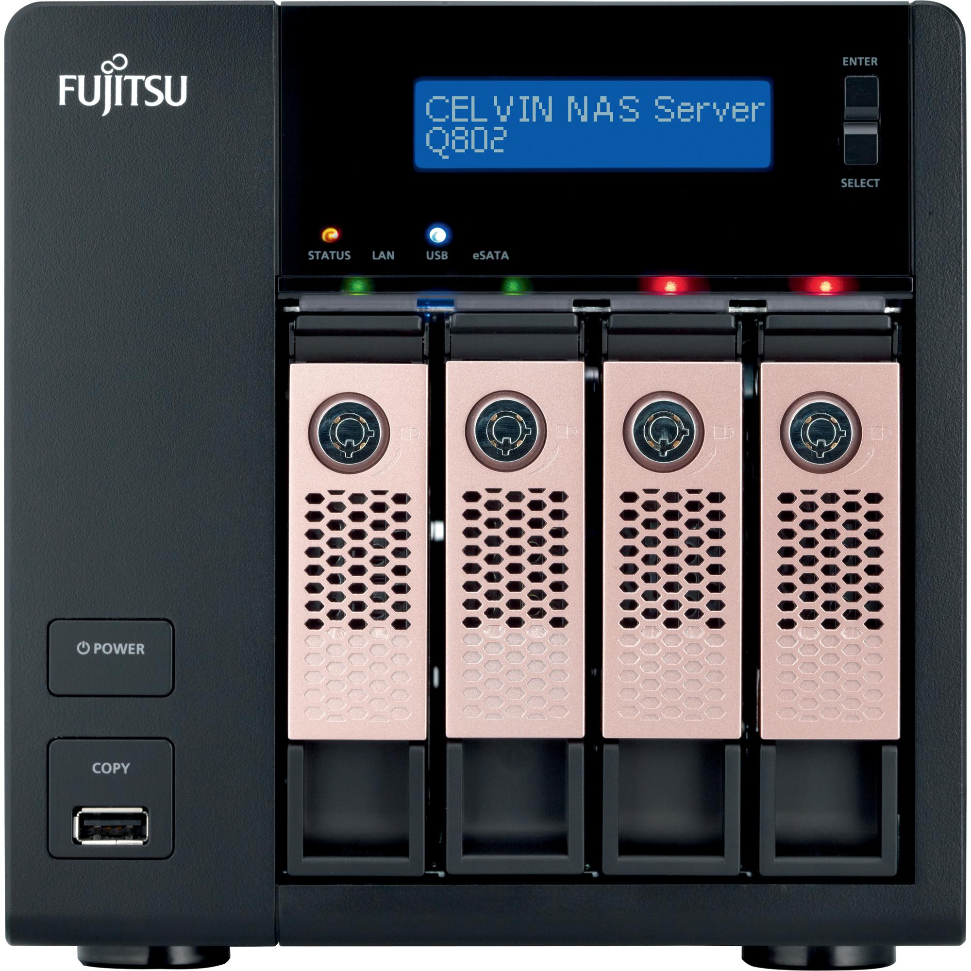 Fujitsu CELVIN Q802 4 x Total Bays NAS Server - Tower - Intel Atom2.10 GHz - 8 TB HDD 4 x 2 TB Serial ATA/600 SSD - 1 GB RAM DDR3 SDRAM - RAID Supported 0, 1, 5, 6