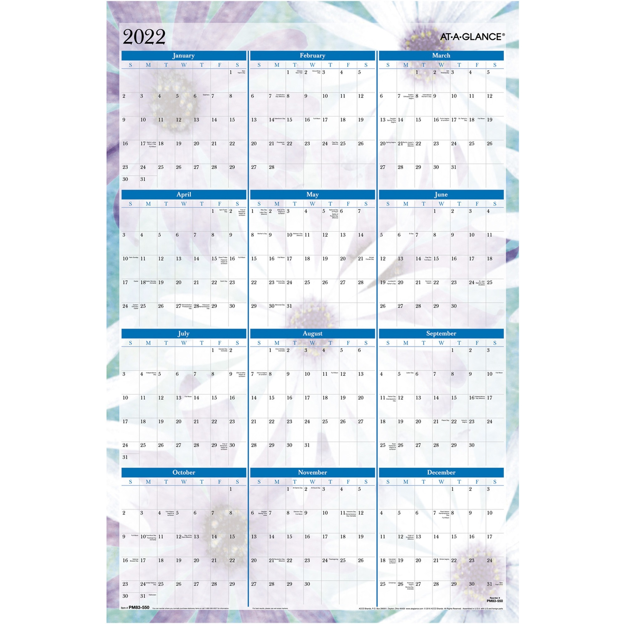 At-A-Glance Dreams Erasable Wall Planner - Yes - Monthly - January 2020 till December 2020 - 24