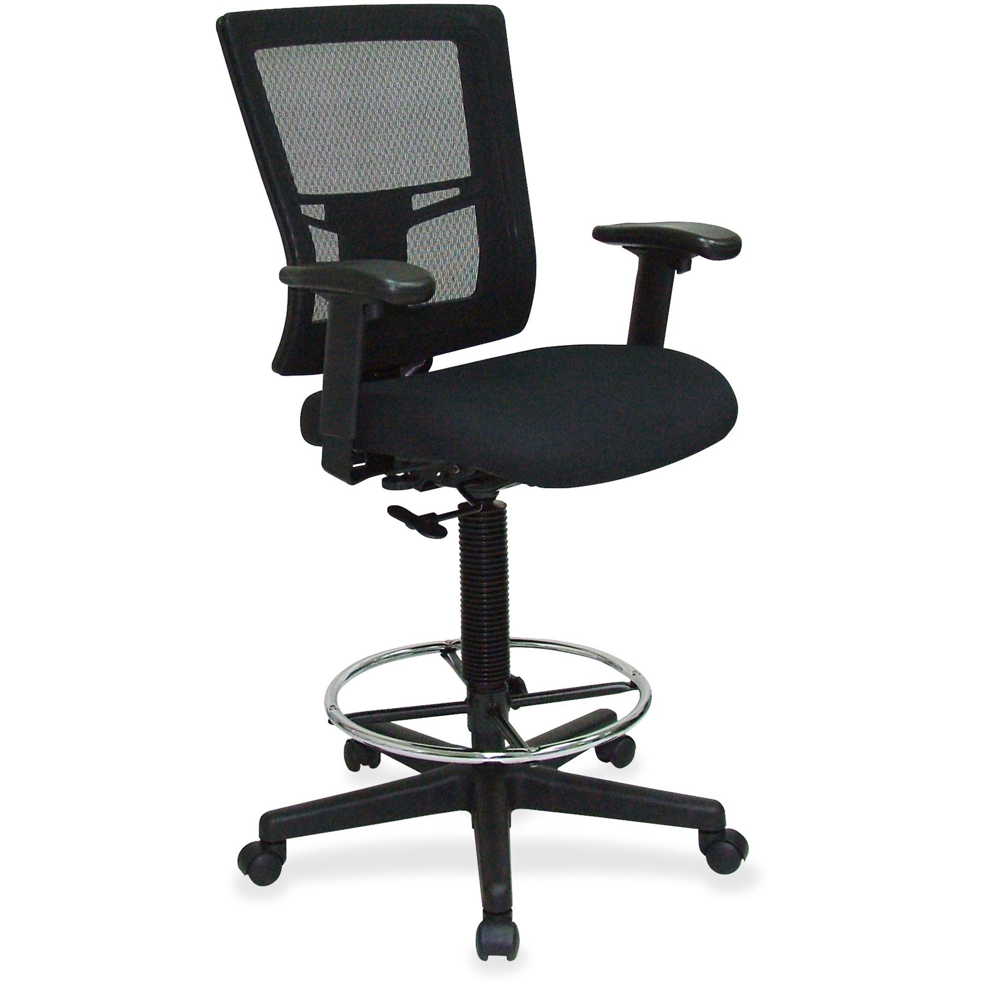 Lorell Breathable Mesh Drafting Stool Black Seat 5
