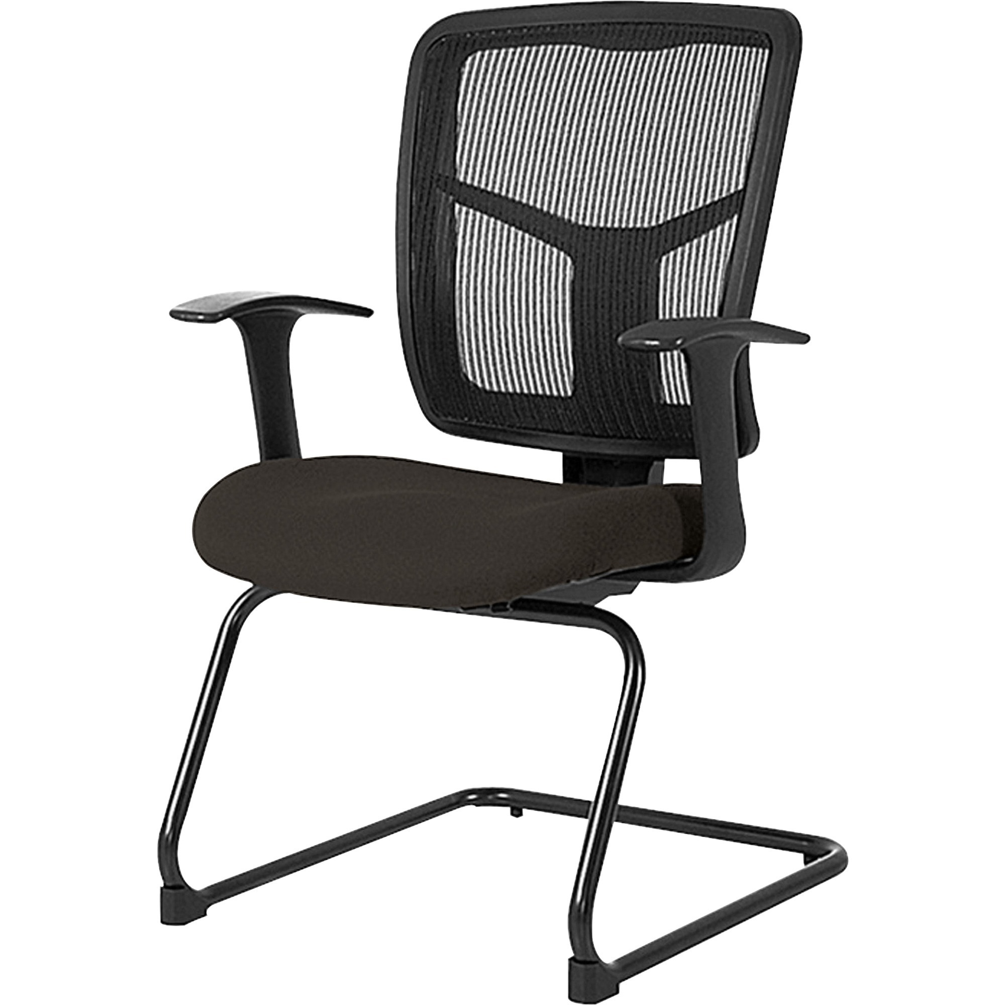 Lorell Mesh Back Guest Chair - Fabric Black Seat - Nylon