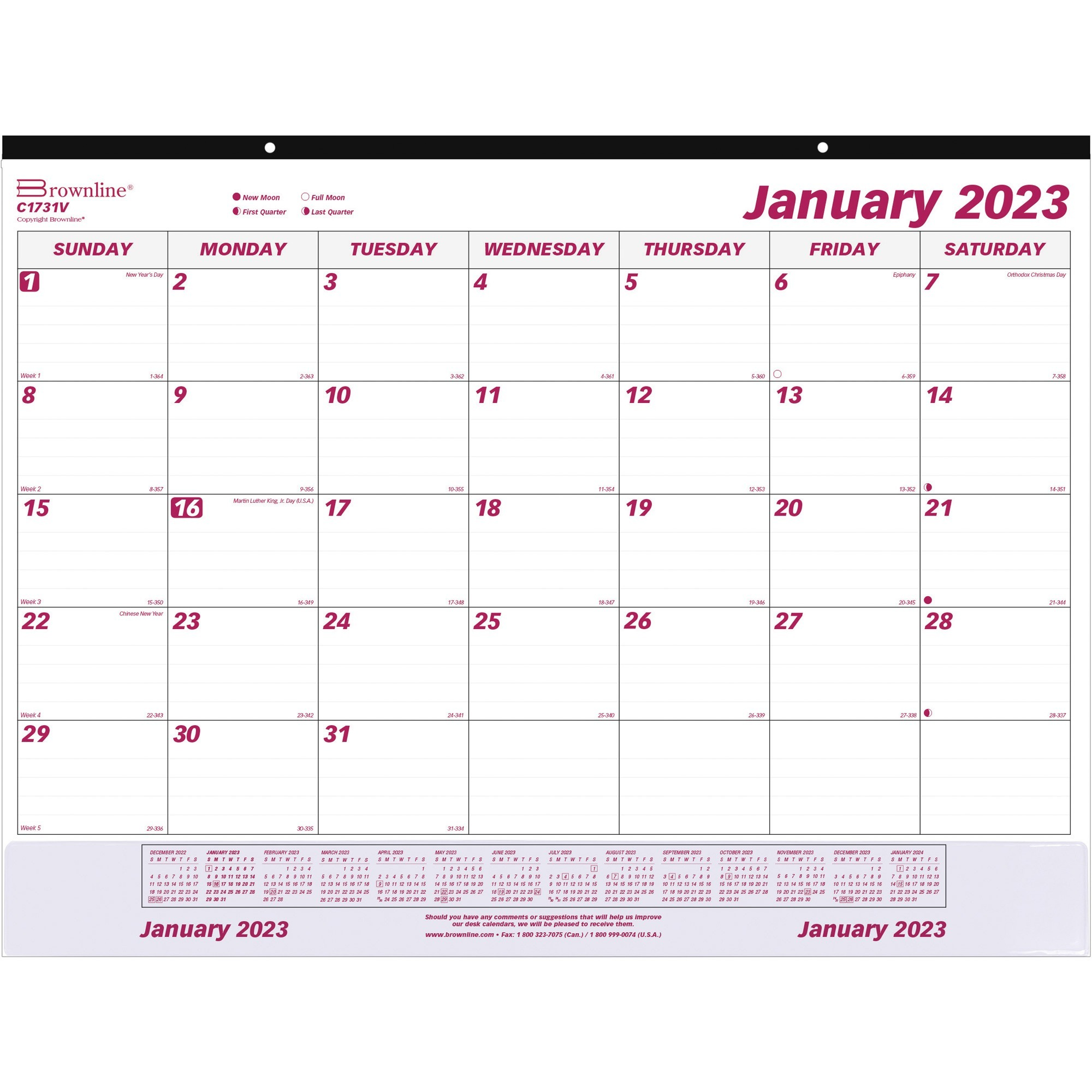 Brownline Vinyl Strip Monthly Desk Pad - Yes - Daily, Monthly - 1 Year - January 2020 till December 2020 - 1 Month Single Page Layout - 22