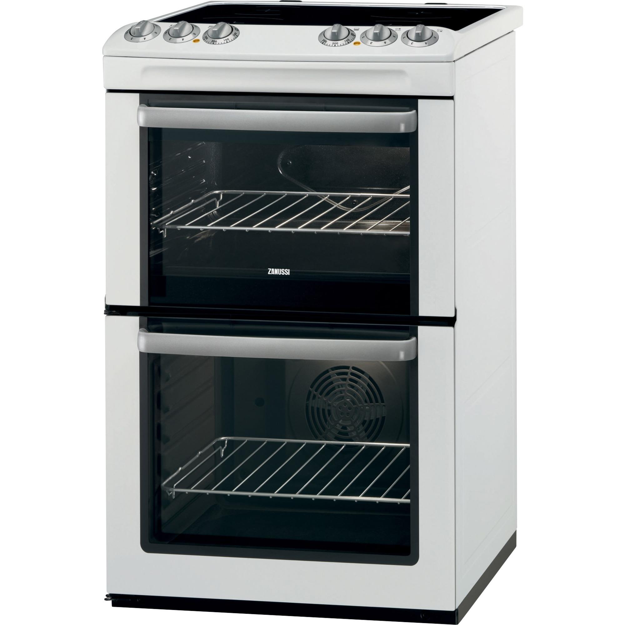 Zanussi Double Oven Cooker with Ceramic Hob  ZCV554MW
