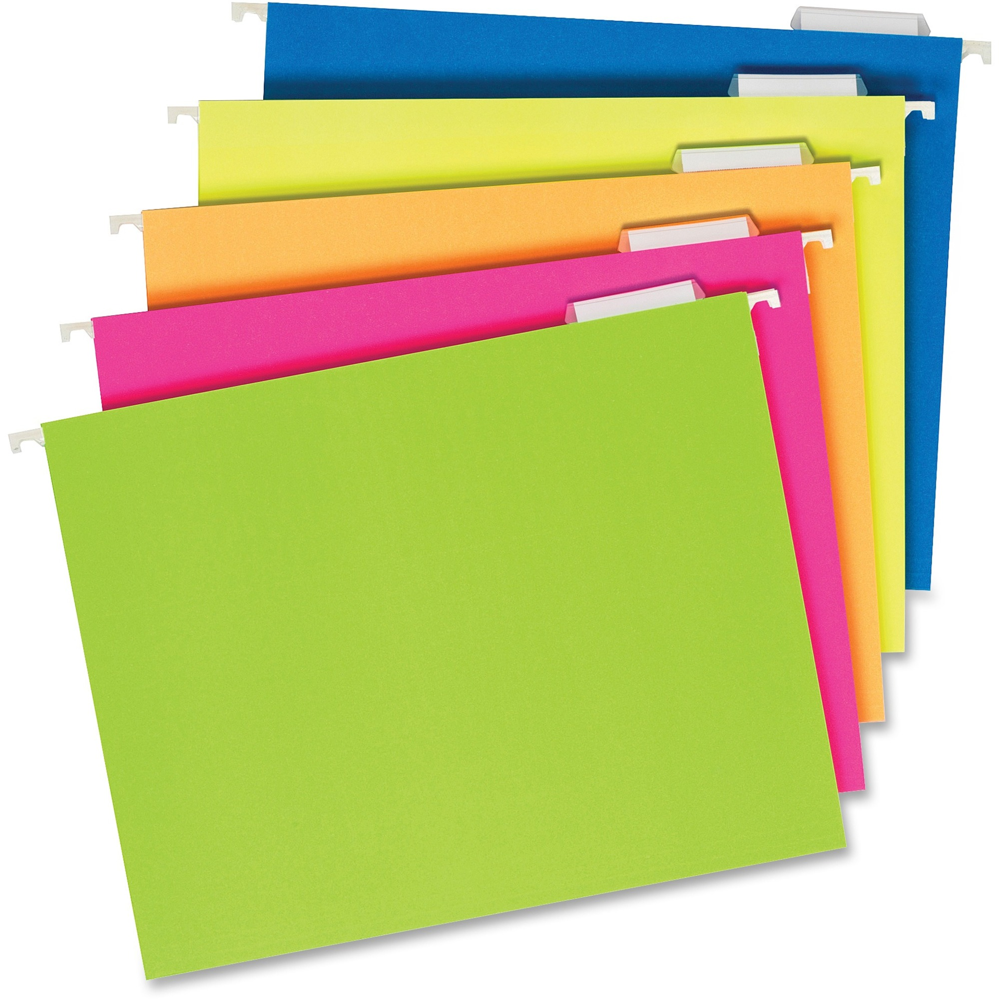 Tops Products Pendaflex Glow Colors Hanging File Folders - Letter - 8 1/2 X  11 Sheet Size - 1/5 Tab Cut - Assorted Position Tab Location - Fluorescent