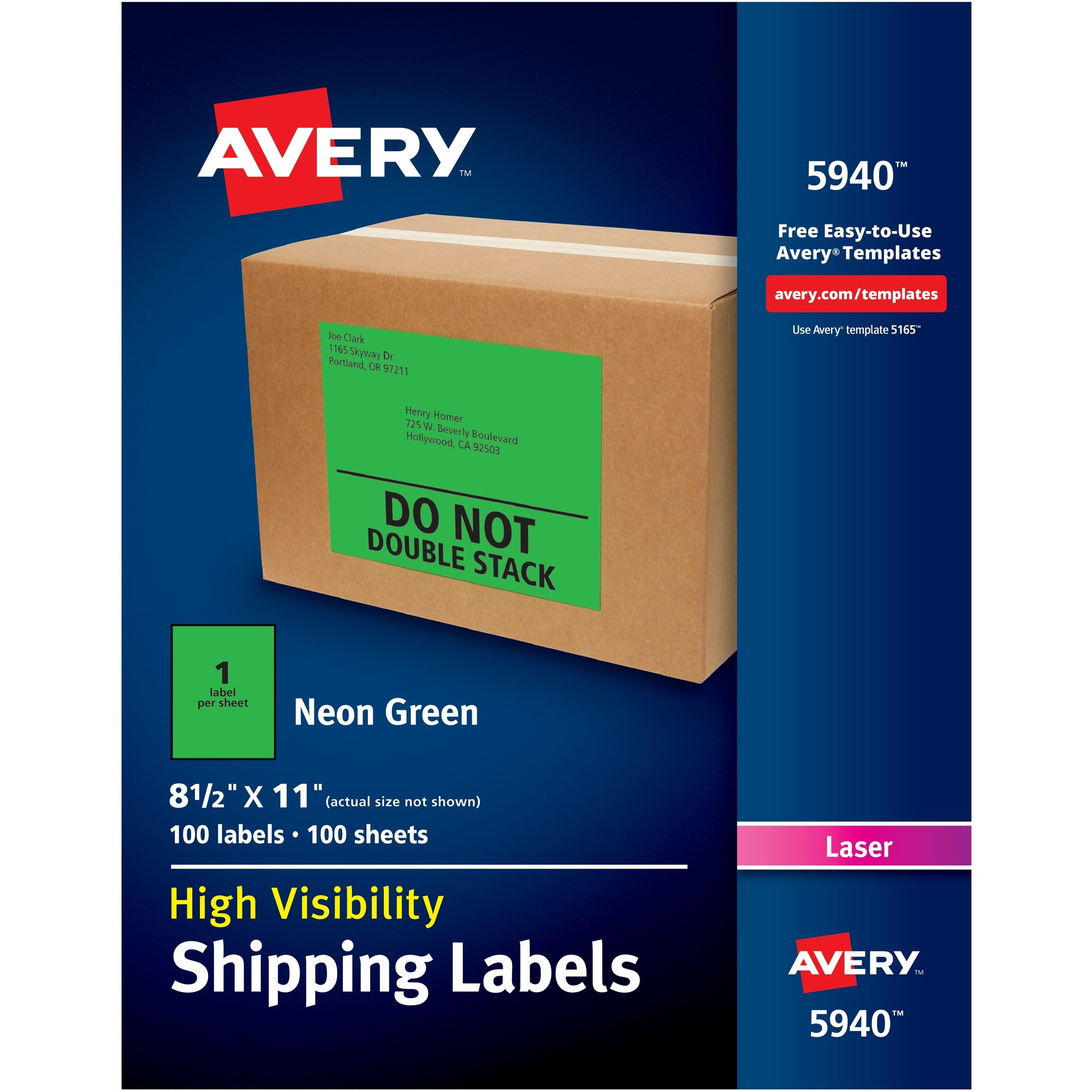 Avery® Neon Shipping Labels - Permanent Adhesive - 11 Width x 8 1/2 Length  - Rectangle - Laser - Neon Green - Paper - 1 / Sheet - 100 / Box