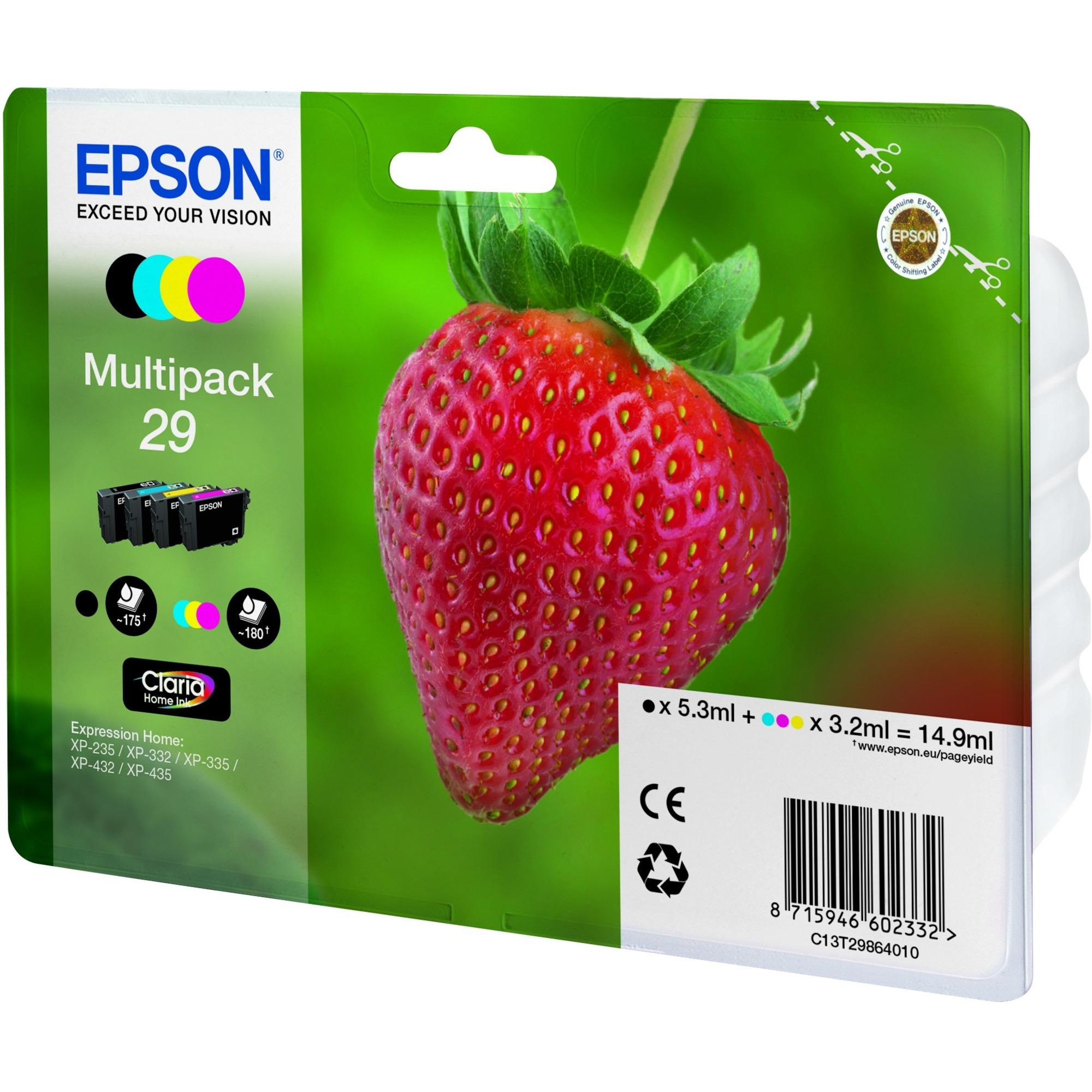 Epson Claria 29 Ink Cartridge - Black, Cyan, Yellow, Magenta - Inkjet - 180 Page - 4 / Pack - OEM