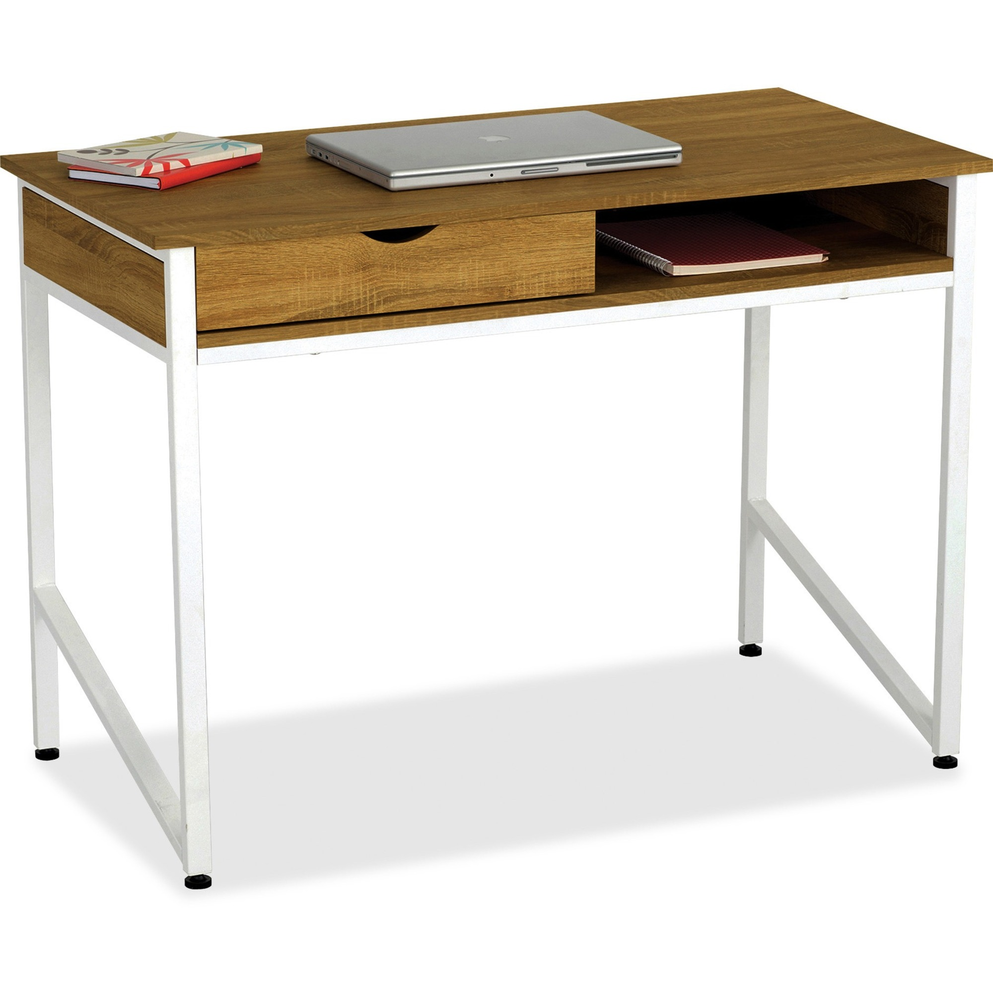 Safco Single Drawer Office Desk Rectangle Top 4 Legs 43 3 Table