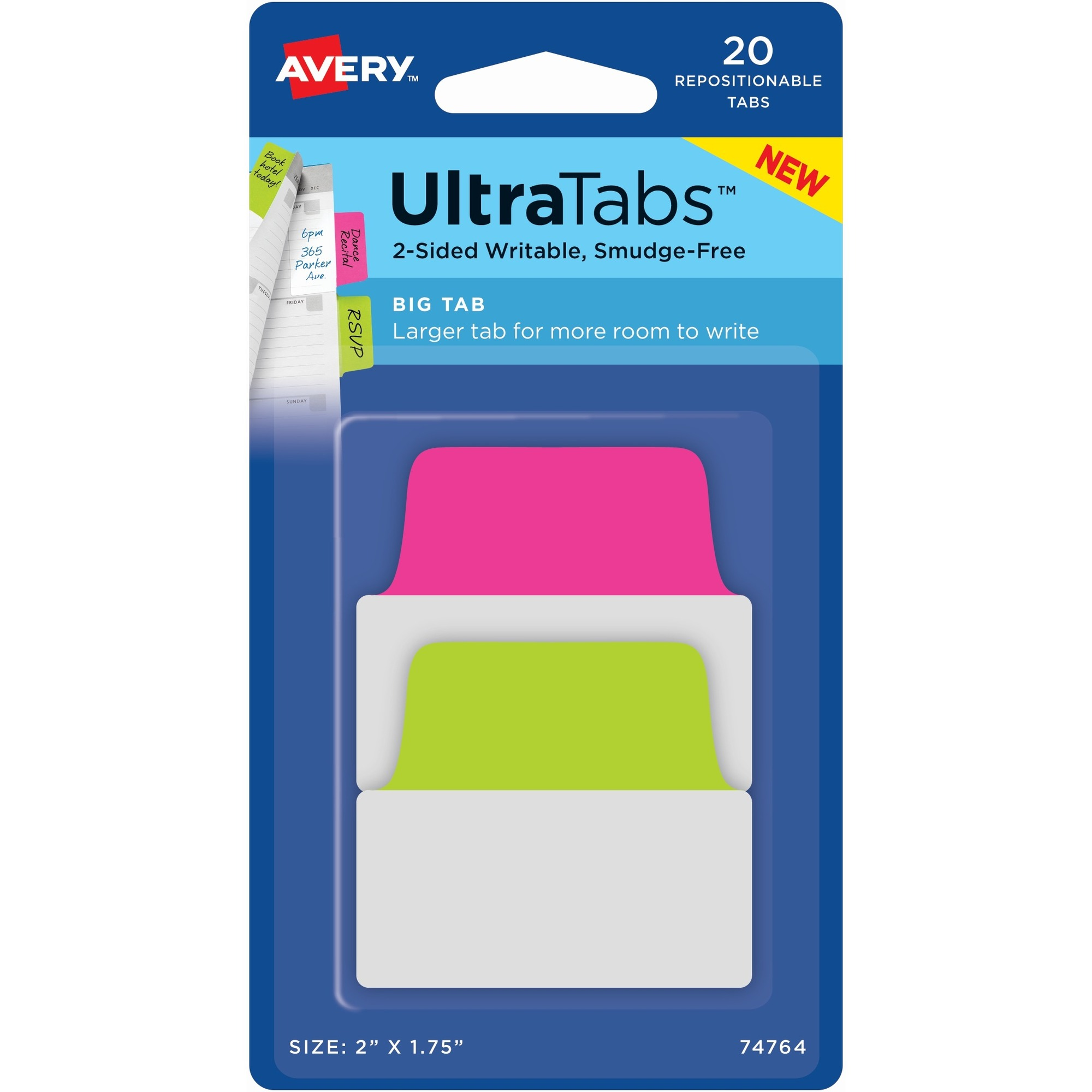 Avery UltraTabs Repositionable Big Tabs - Write-on Tab(s) - 1 75