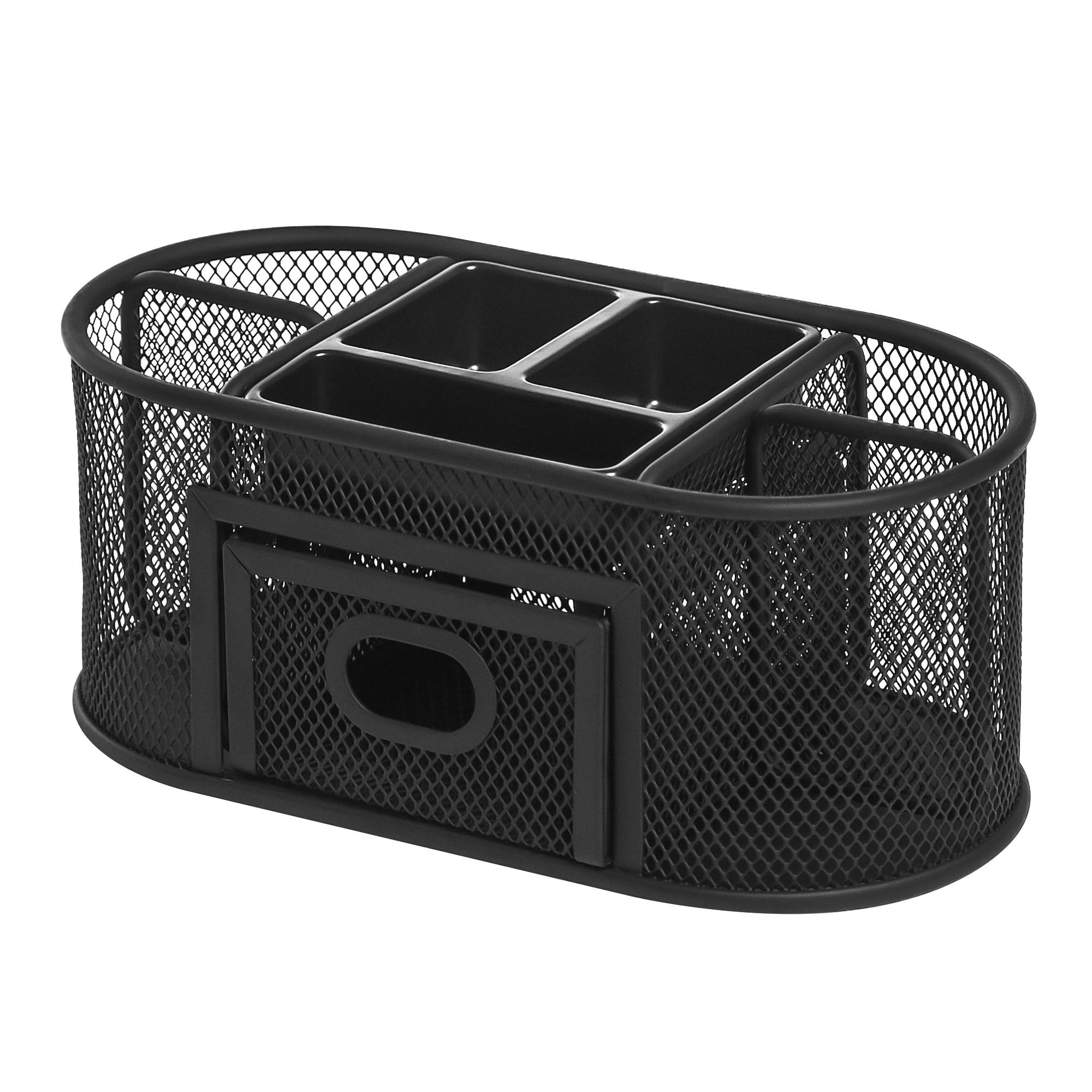 Lorell Mesh Steel Desktop Organizer Black Plastic 1each