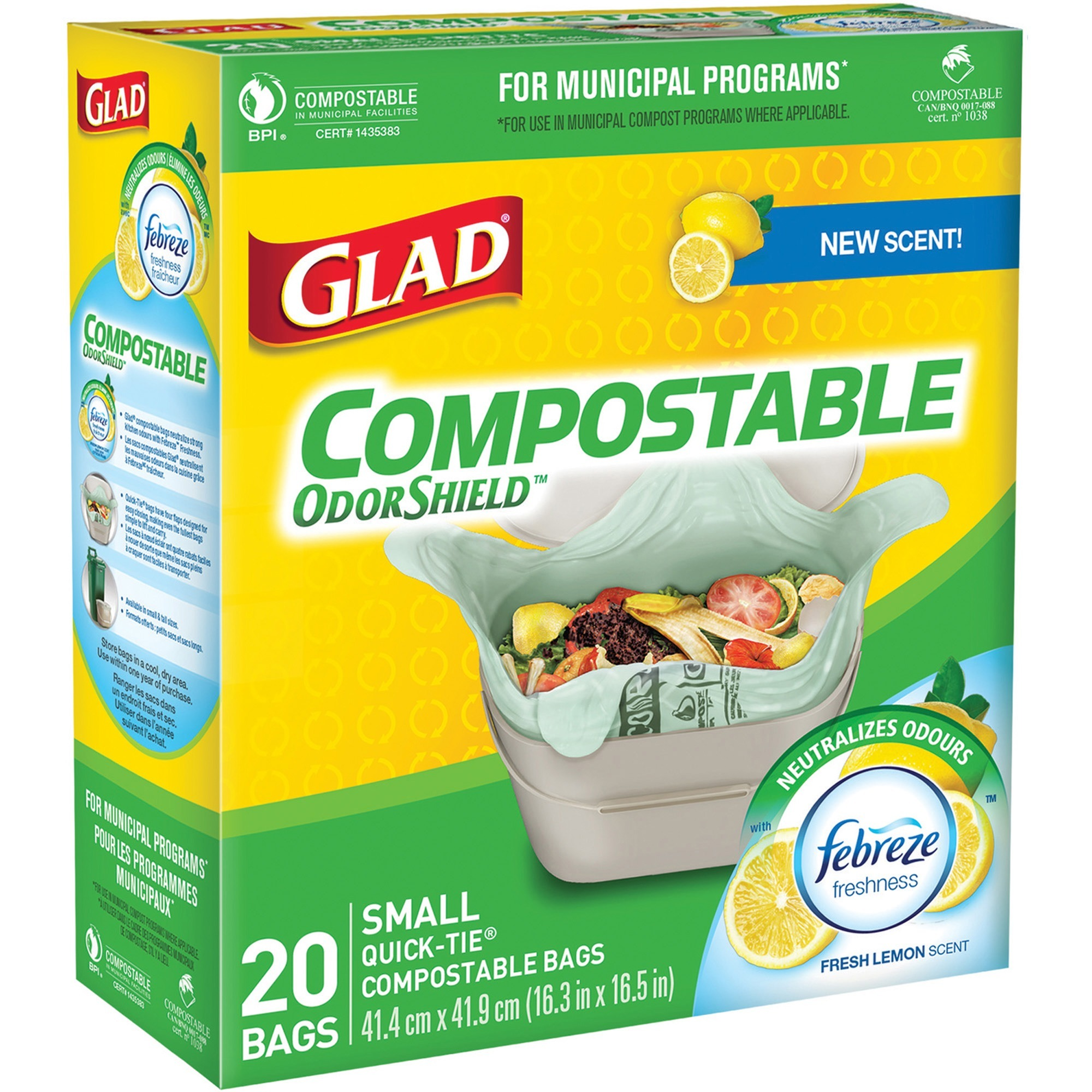 Glad Compostable Bags - Small Size - 9 80 L - 16 30