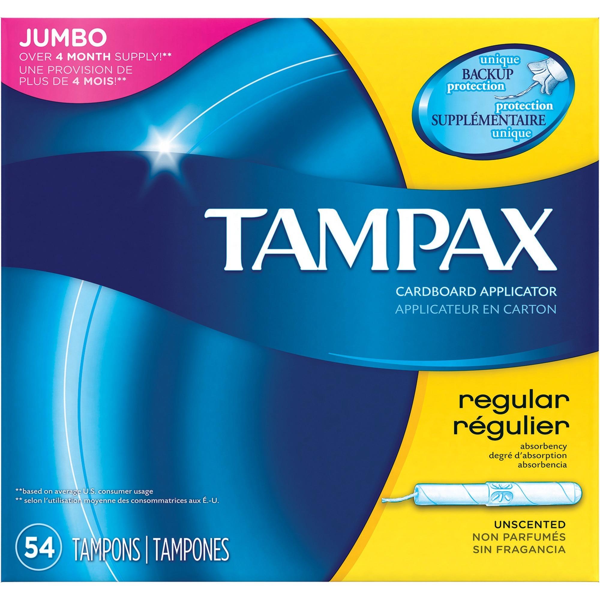 Tampax Tampons - 54 / Box - Flushable, Individually Wrapped,  Fragrance-free, Anti-leak, Anti-slip