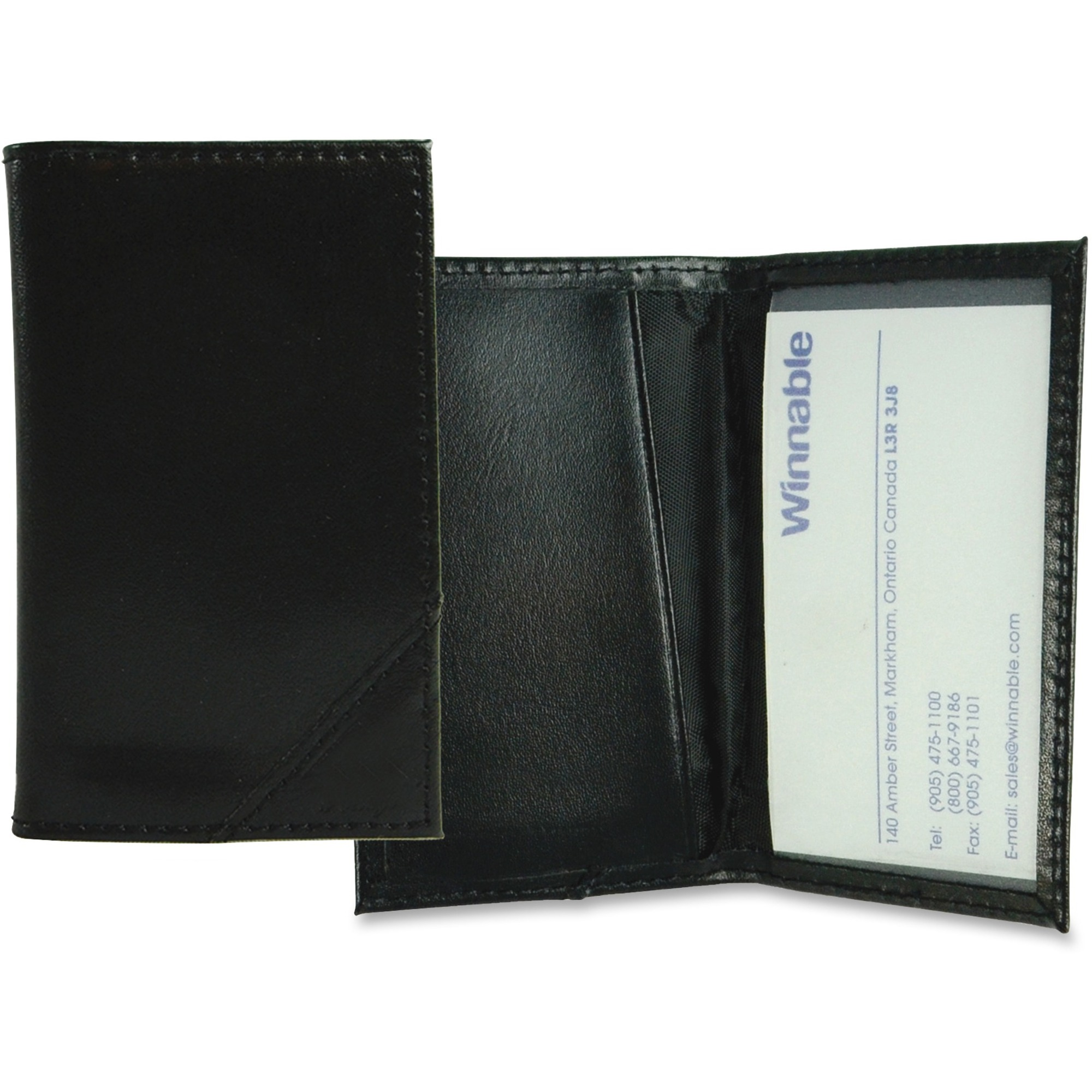 Leather Business Card Holder Black 4 24 X 2 Each