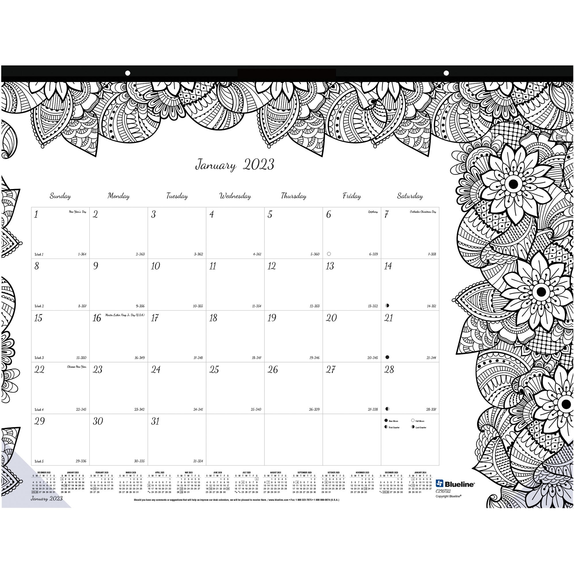 Blueline Botanica Design Monthly Desk Pad - Julian - Monthly - January 2020 till December 2020 - 1Month Single Page Layout - Desk Pad - White - Chipboard - Eyelet, Tear-off, Compact, Reinforced - 22
