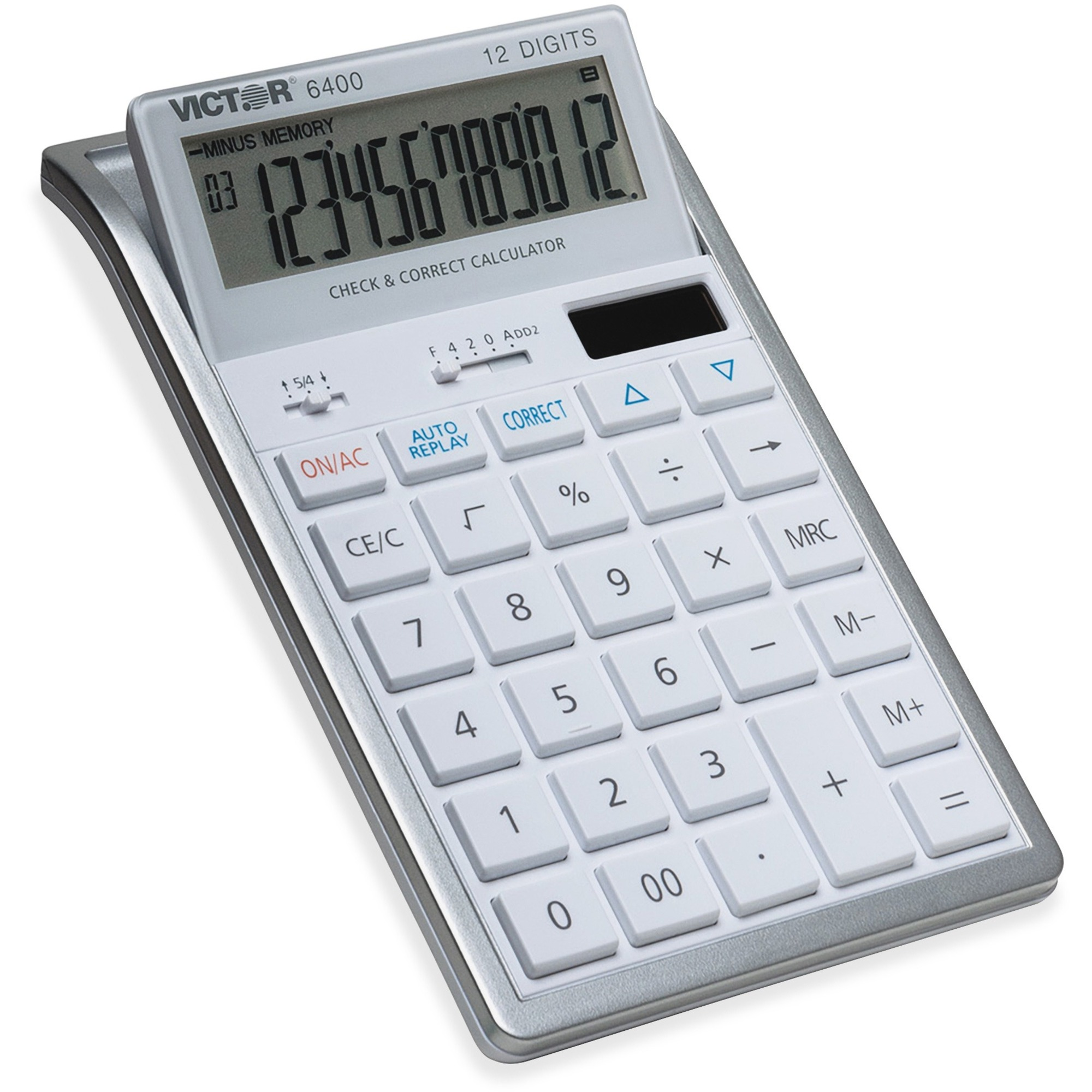 Victor 12 Digit Check And Correct Desk Calculator   Large Display, Tilt  Display, 3 Key Memory, Automatic Power Down, Dual Power, Battery Backup, ...