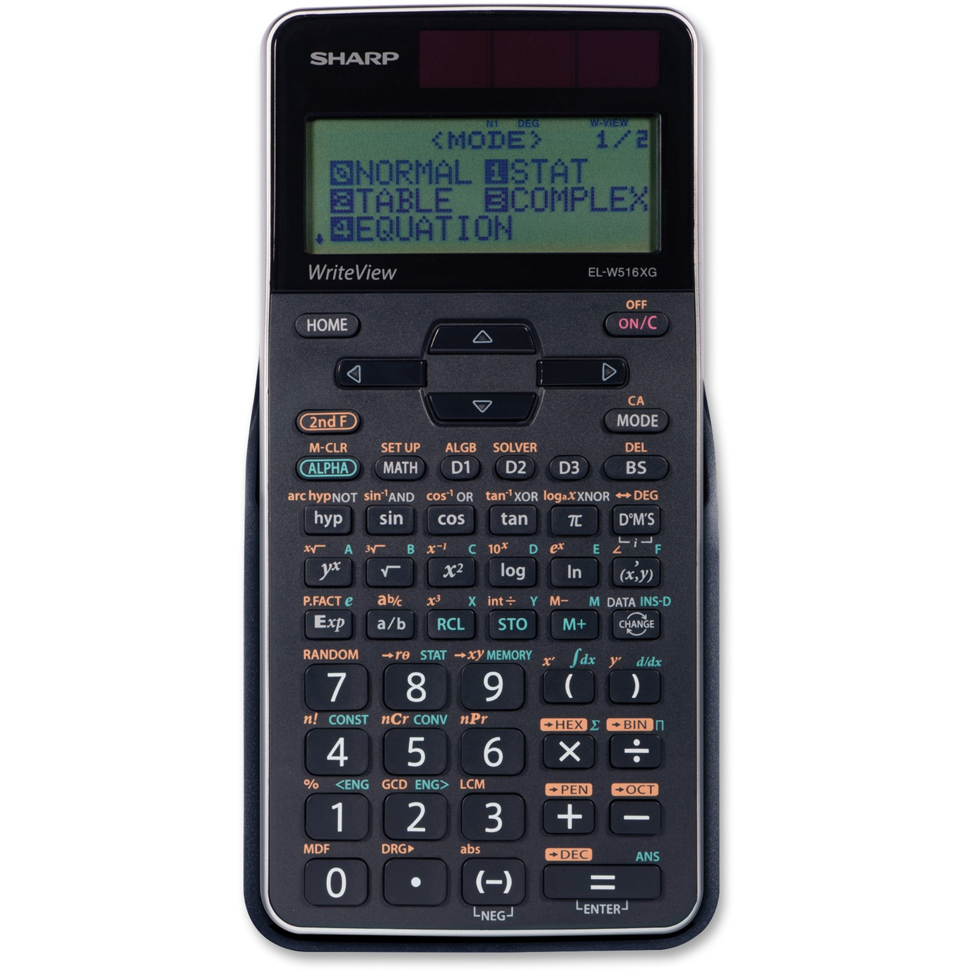 Sharp Calculators Writeview Scientific Calculator 640 Functions Dual Slide On Hard Case Textbook Display 4 Line S Battery Solar