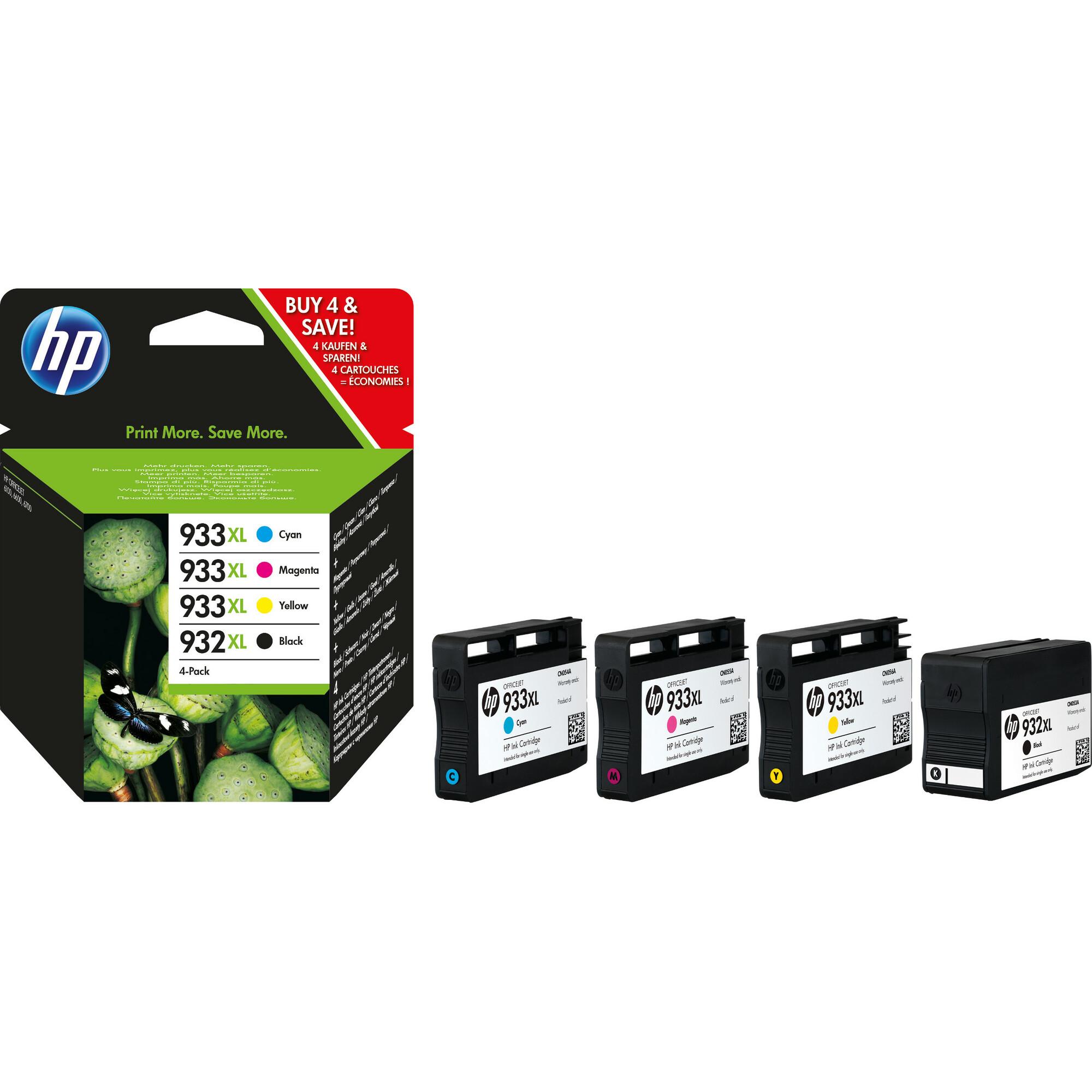 HP 932XL/933XL Ink Cartridge - Yellow, Magenta, Black, Cyan