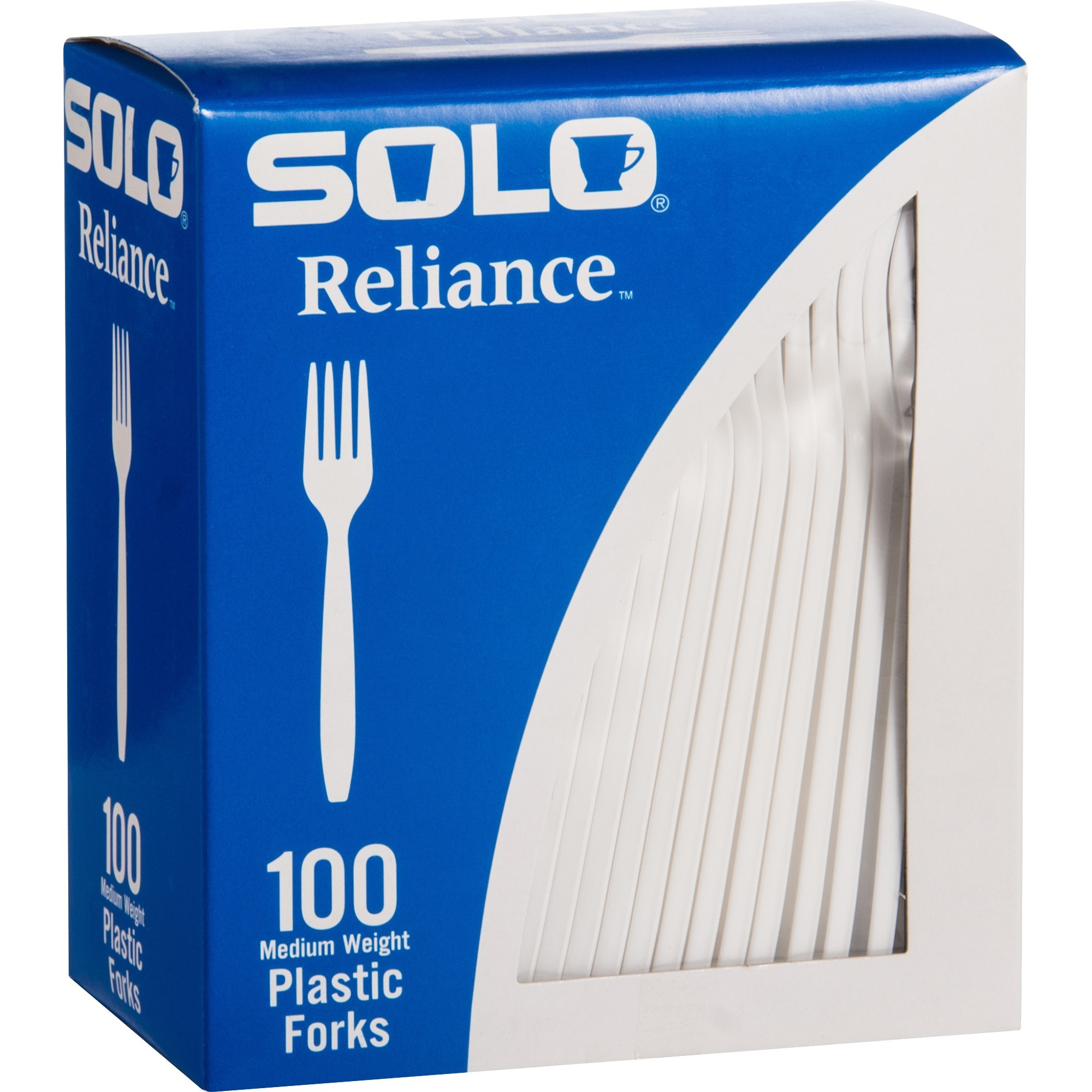 Solo Cup Company Solo Cup Reliance Medium Weight Boxed Forks - 10 / Box -  1000/carton - Fork - Disposable - Plastic - White