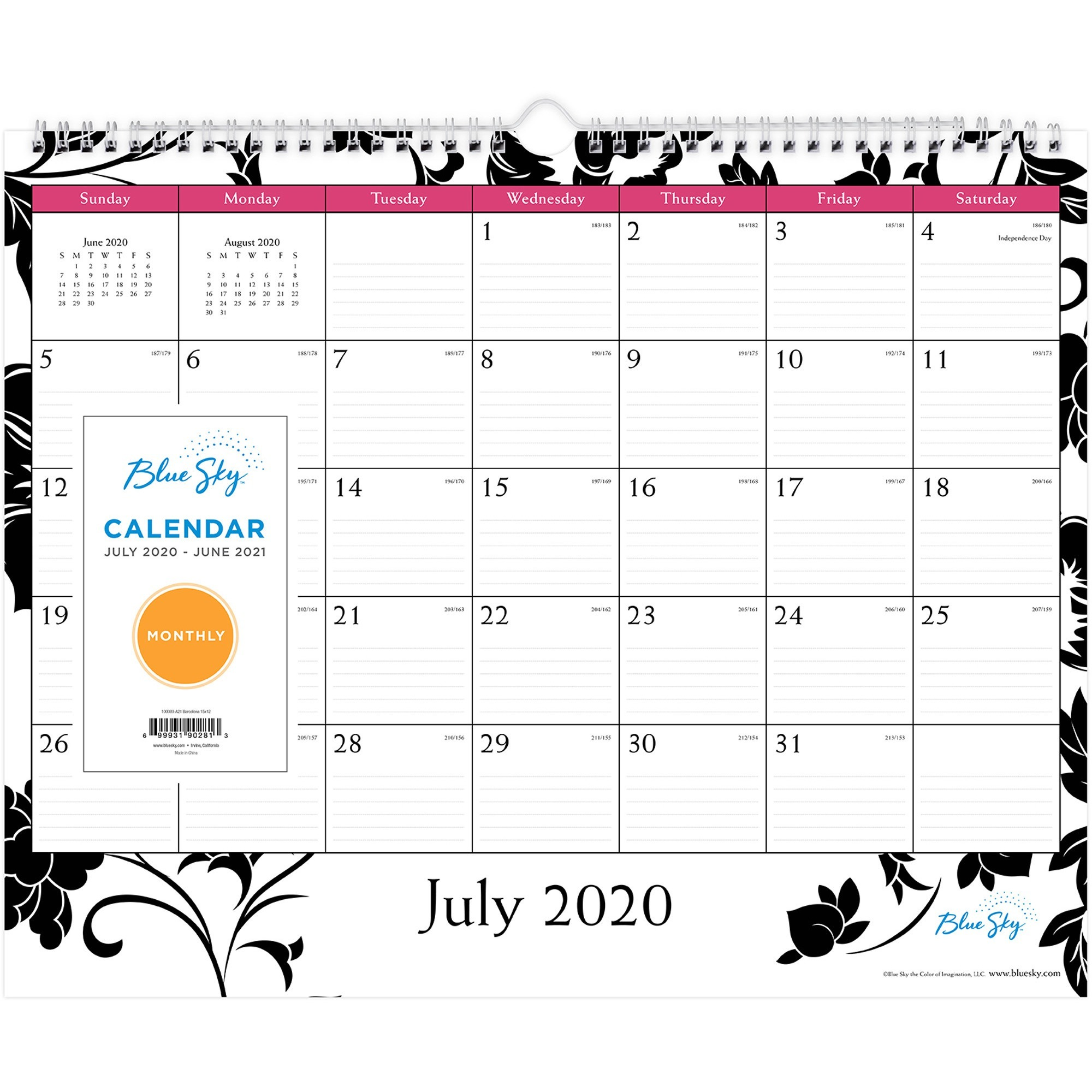 Blue Sky Barcelona Academic Monthly Wall Calendar - Academic - Yes - Monthly - 1 Year - July 2019 till June 2020 - 15