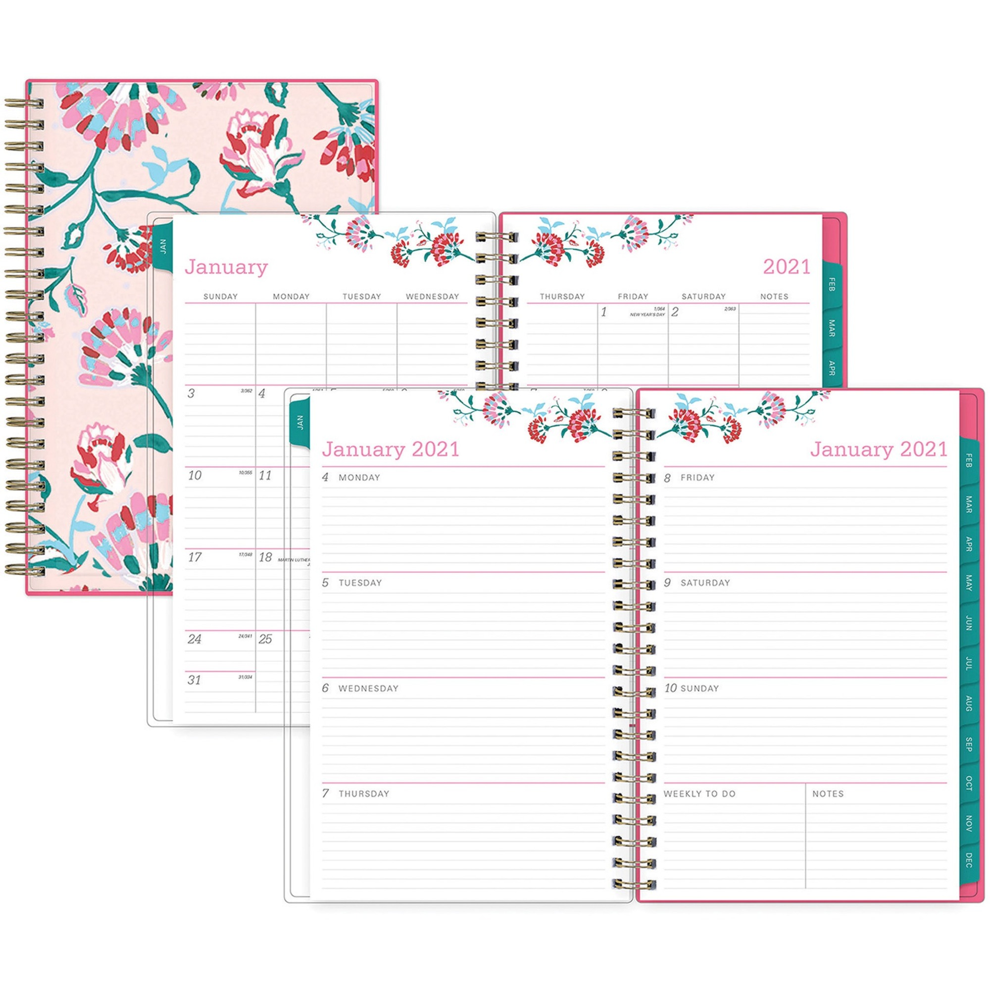 Blue Sky BCA Alexandra Small Weekly/Monthly Planner - Yes - Weekly, Monthly - 1 Year - January till December - 1 Week Double Page Layout - 5