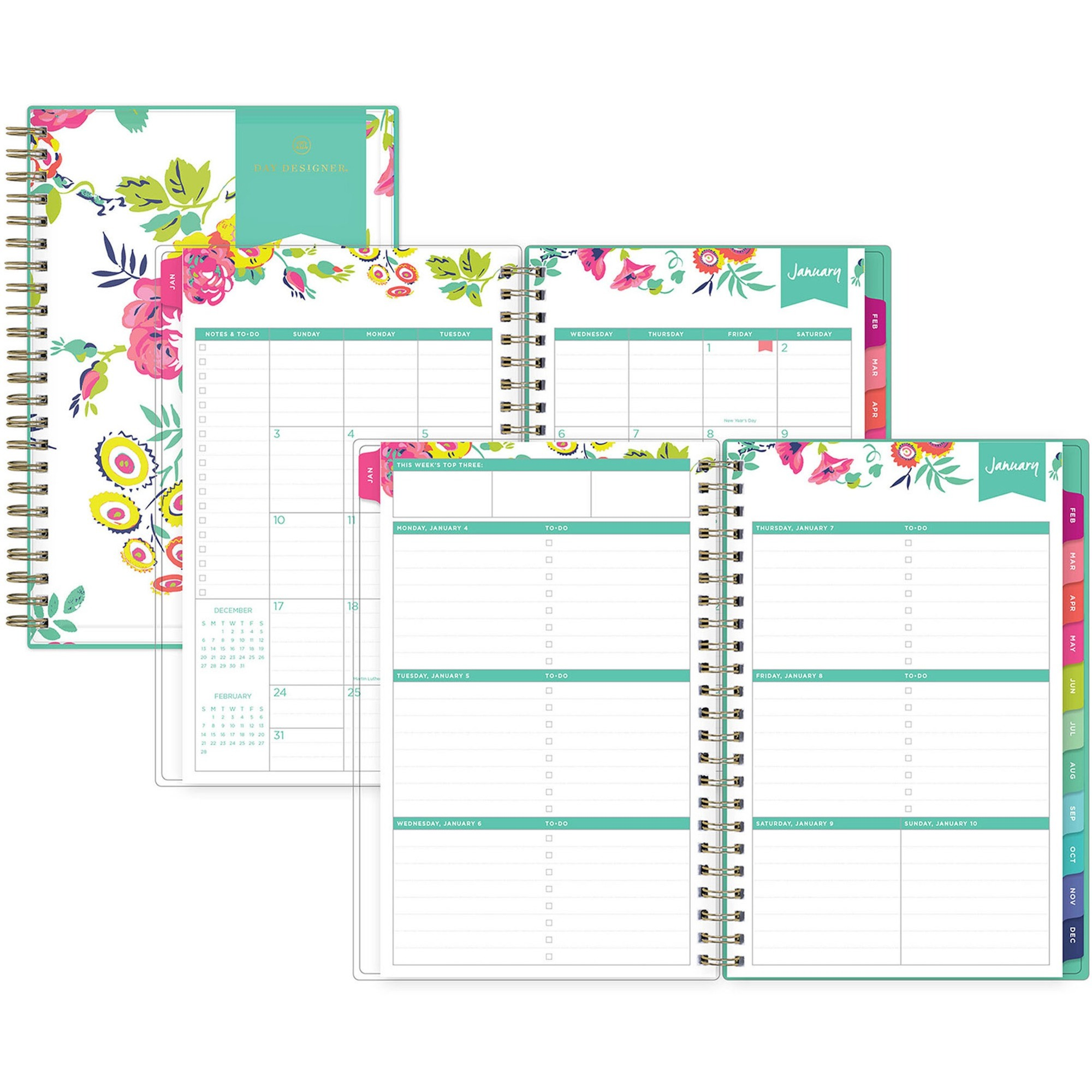 Blue Sky Day Designer Weekly/Monthly Planner - Yes - Weekly, Monthly - 1 Year - January till December - 5