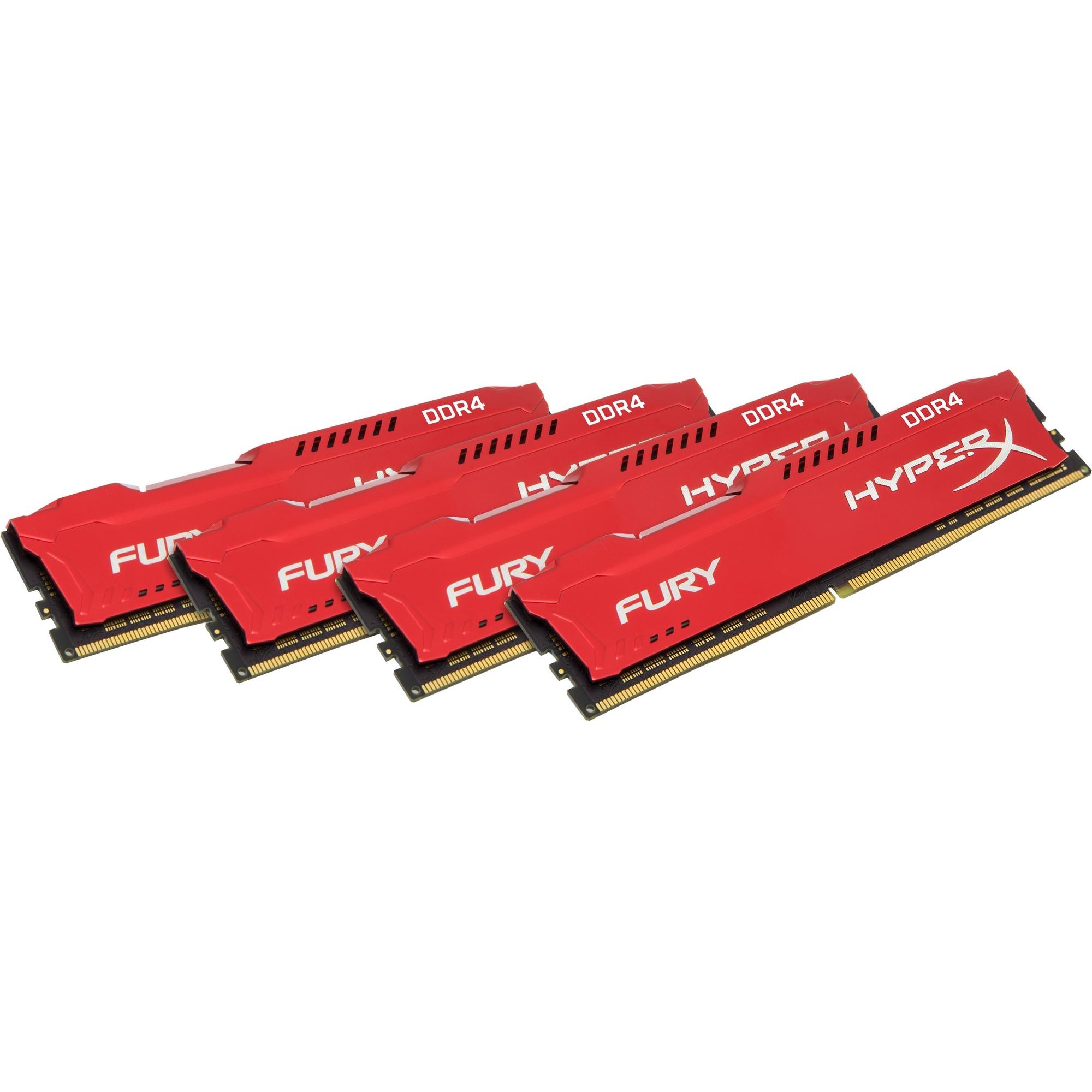 Kingston HyperX Fury RAM Module - 32 GB 4 x 8 GB - DDR4 SDRAM - 2666 MHz DDR4-2666/PC4-21300 - 1.20 V - Non-ECC - Unbuffered - CL16 - 288-pin - DIMM