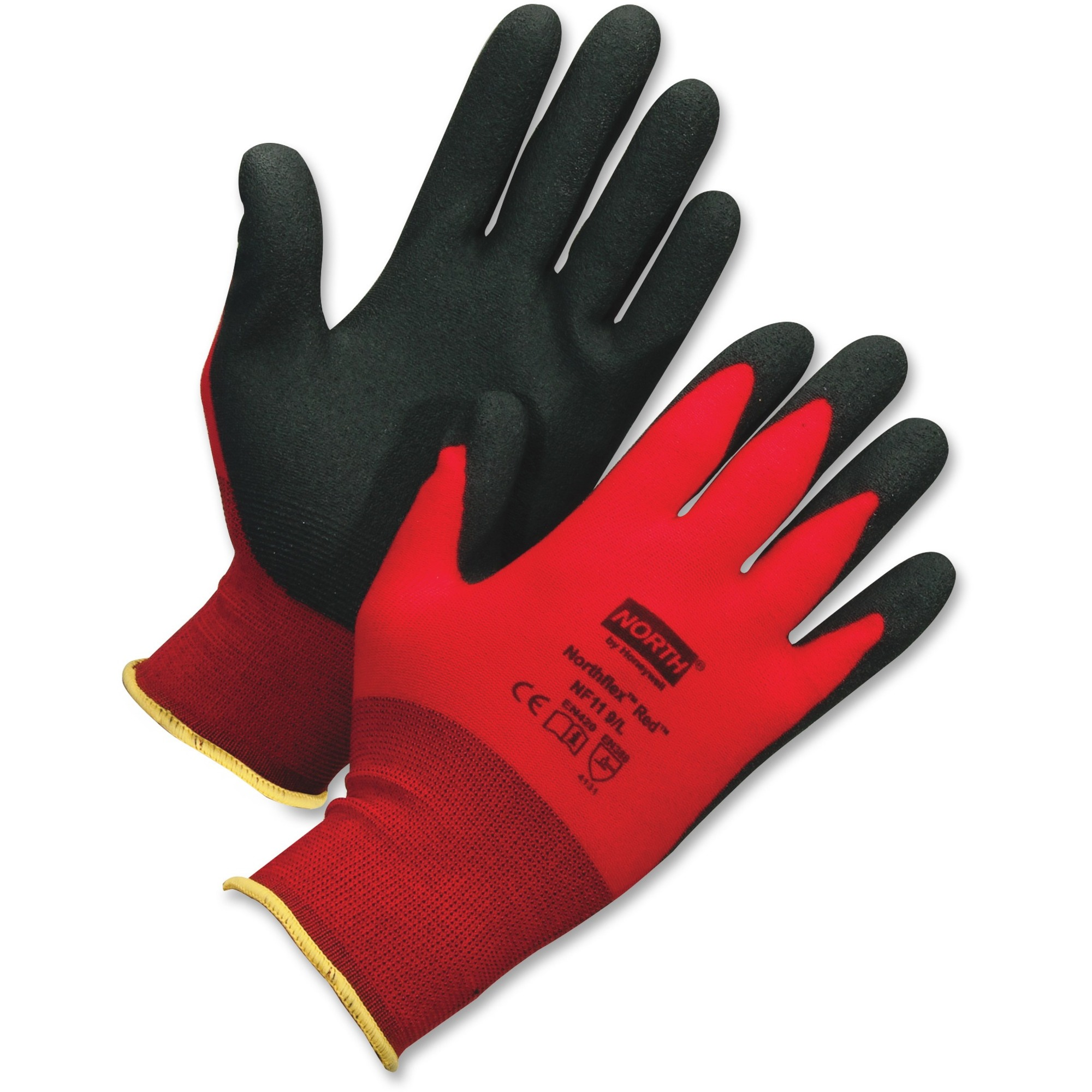 NORTH NorthFlex Red XL Work Gloves - Polyvinyl Chloride (PVC) Coating - X-Large Size - Nylon - Red, Black, White - Lightweight, Knitted Cuff - For Manufacturing, Construction, Agriculture, Municipal Service, General Purpose - 24 / Carton