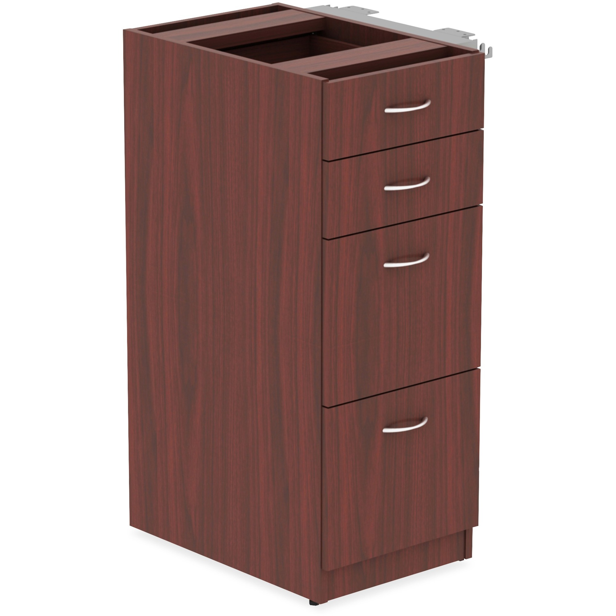Lorell Relevance Series Mahogany Laminate Office Furniture - 15.5 X 23.6 X  40.4 - 4 X File Drawer(S), Box Drawer(S) - Material: Metal Frame - Finish:  ...