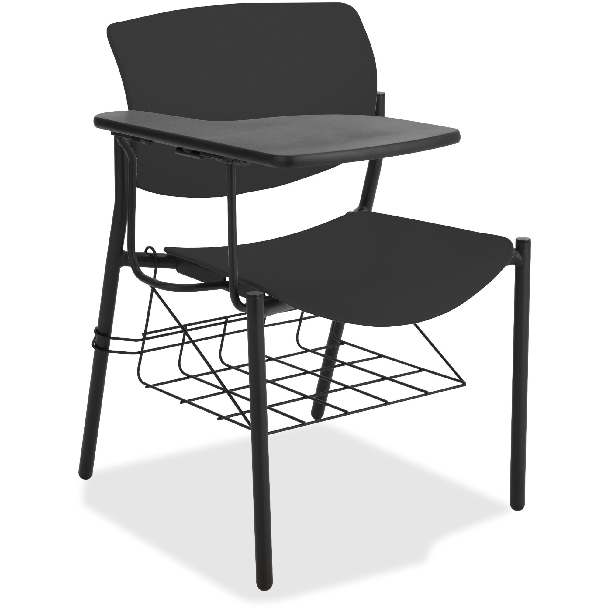 Lorell writing tablet student chairs tubular steel powder coated black frame four