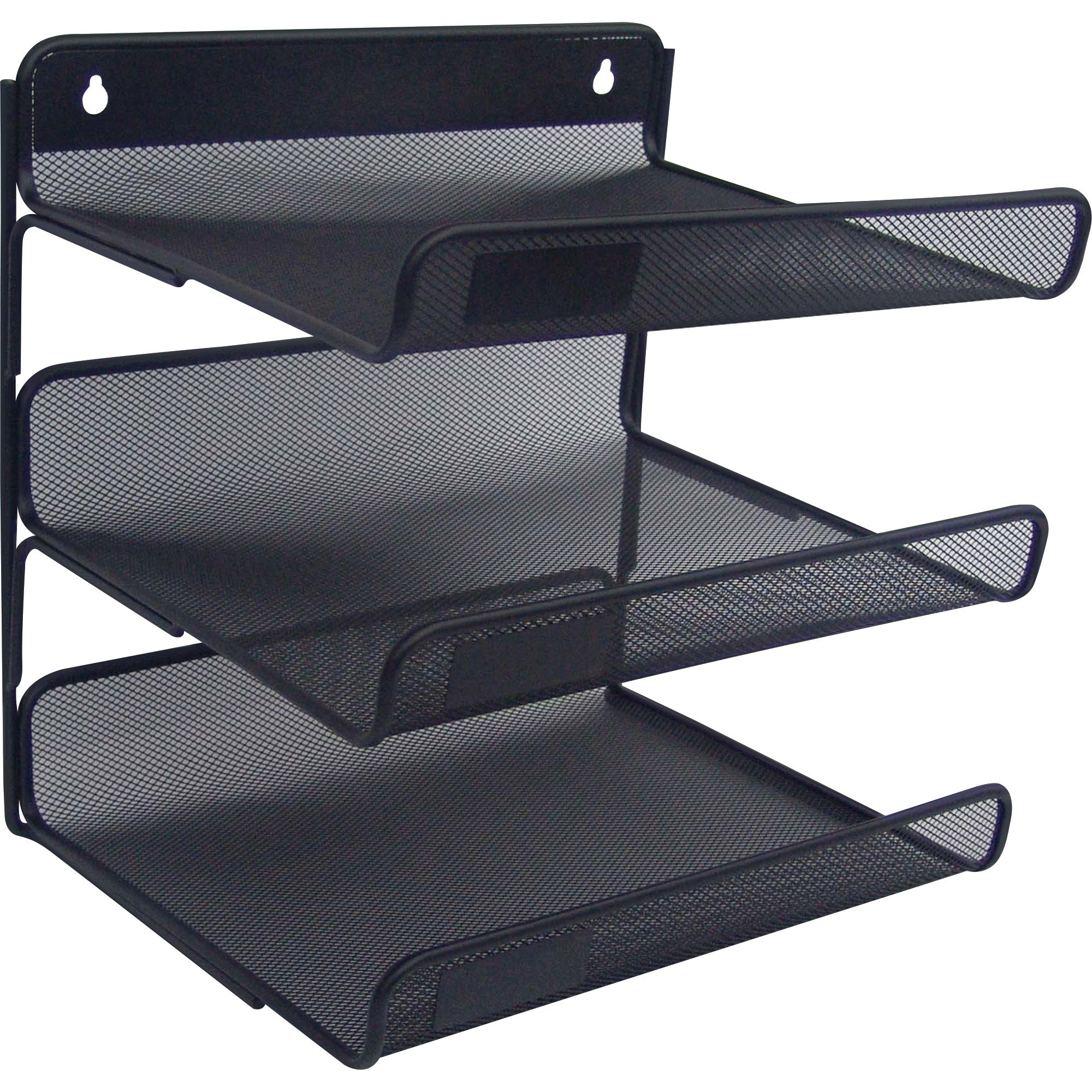Lorell Mesh Desktop Organizer 12 8 Height X 10 Width Black Metal 1each