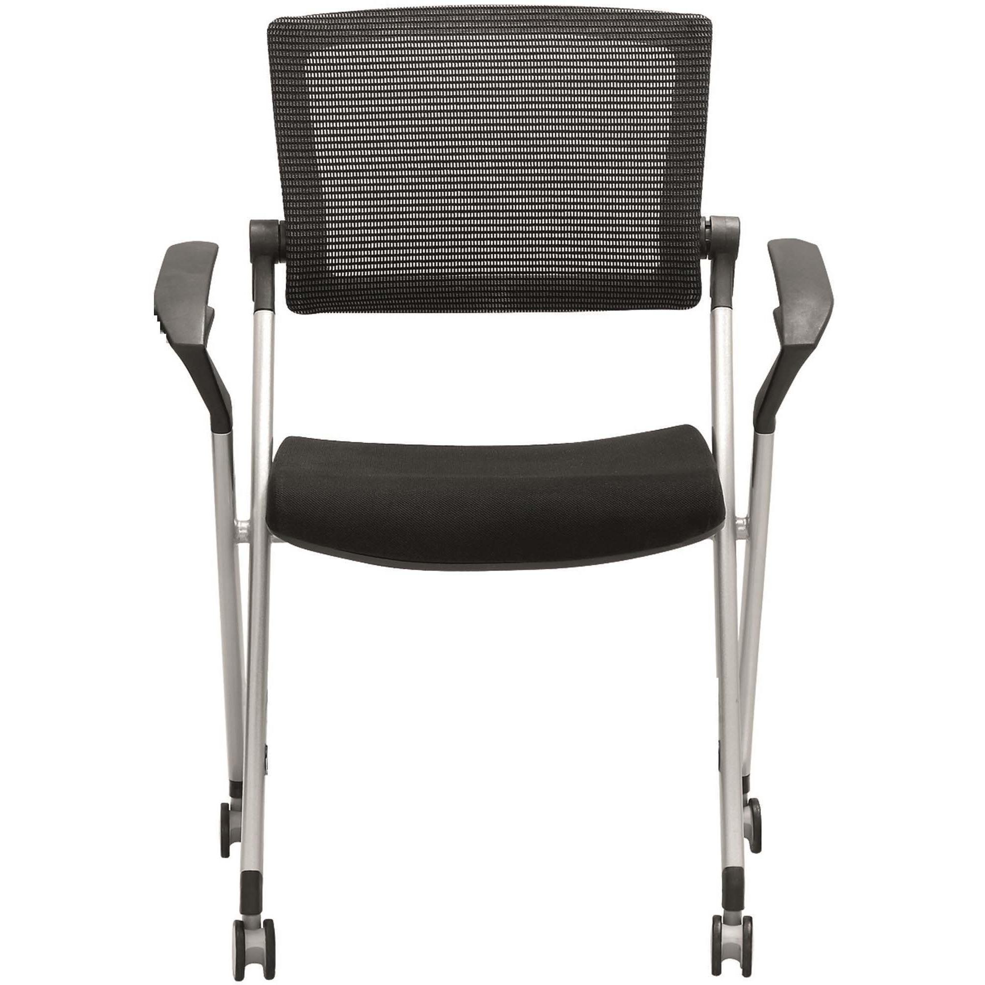 Heartwood Mesa Nesting Stacking Chair   Fabric Black, High Density Foam  (HDF) Seat   Fabric Black Back   Metal Powder Coated, Gray Frame    Four Legged Base ...