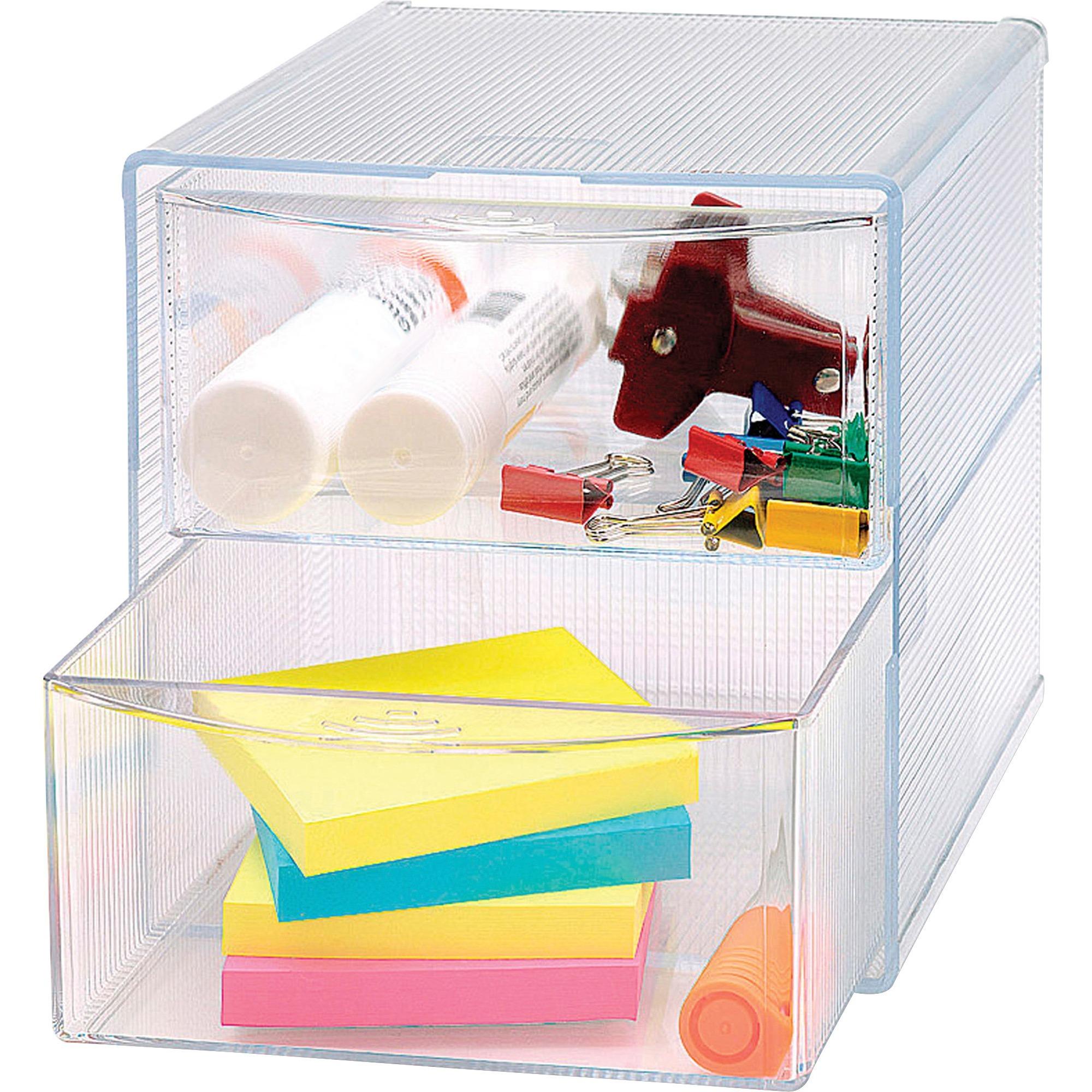 Business Source 2 Drawer Storage Organizer S 6 Height X Width Depth Desktop Clear 1each