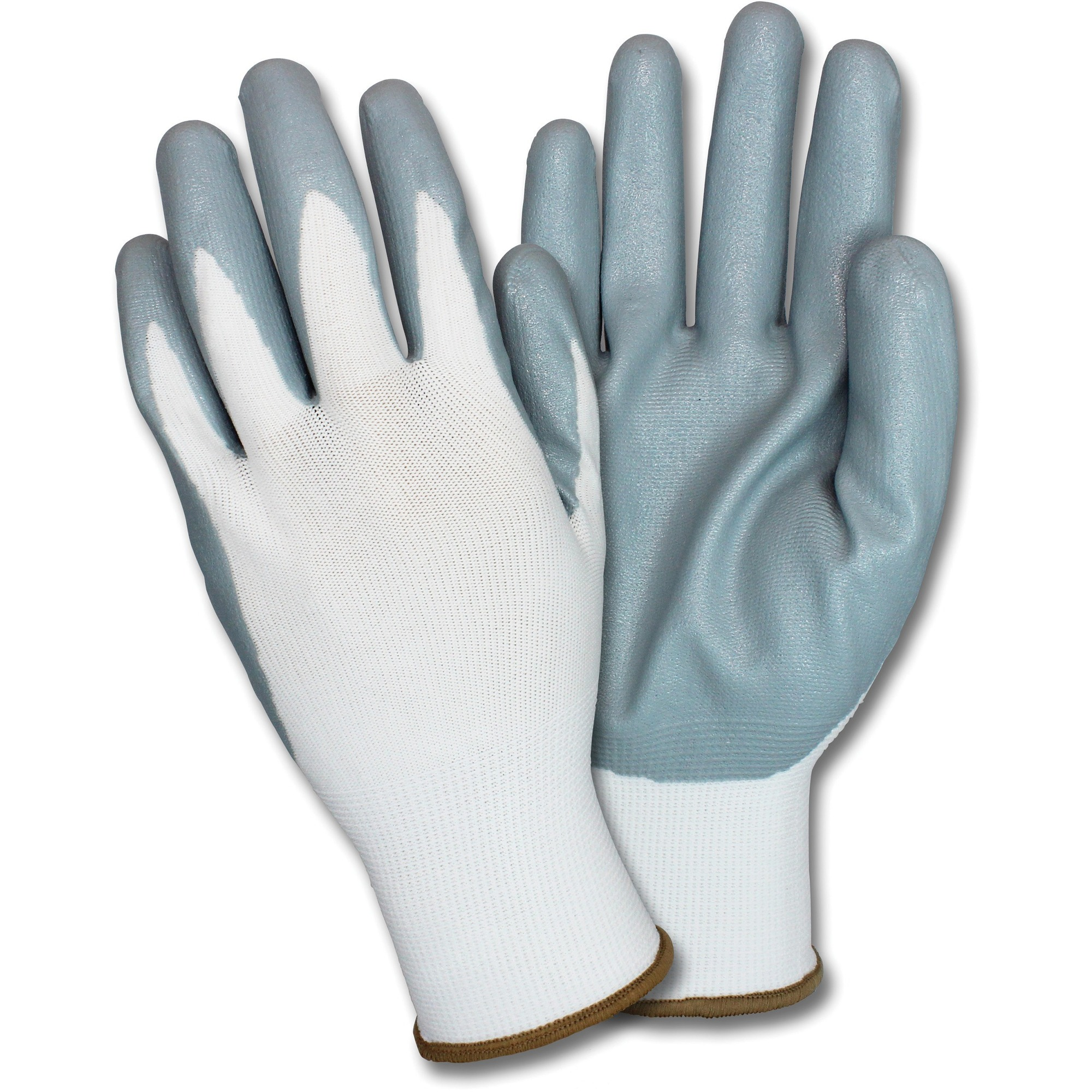 Safety Zone Nitrile Coated Knit Gloves - Hand Protection - Nitrile Coating - Large Size - White, Gray - Durable, Flexible, Breathable, Comfortable, Knitted - For Industrial - 12 / Dozen